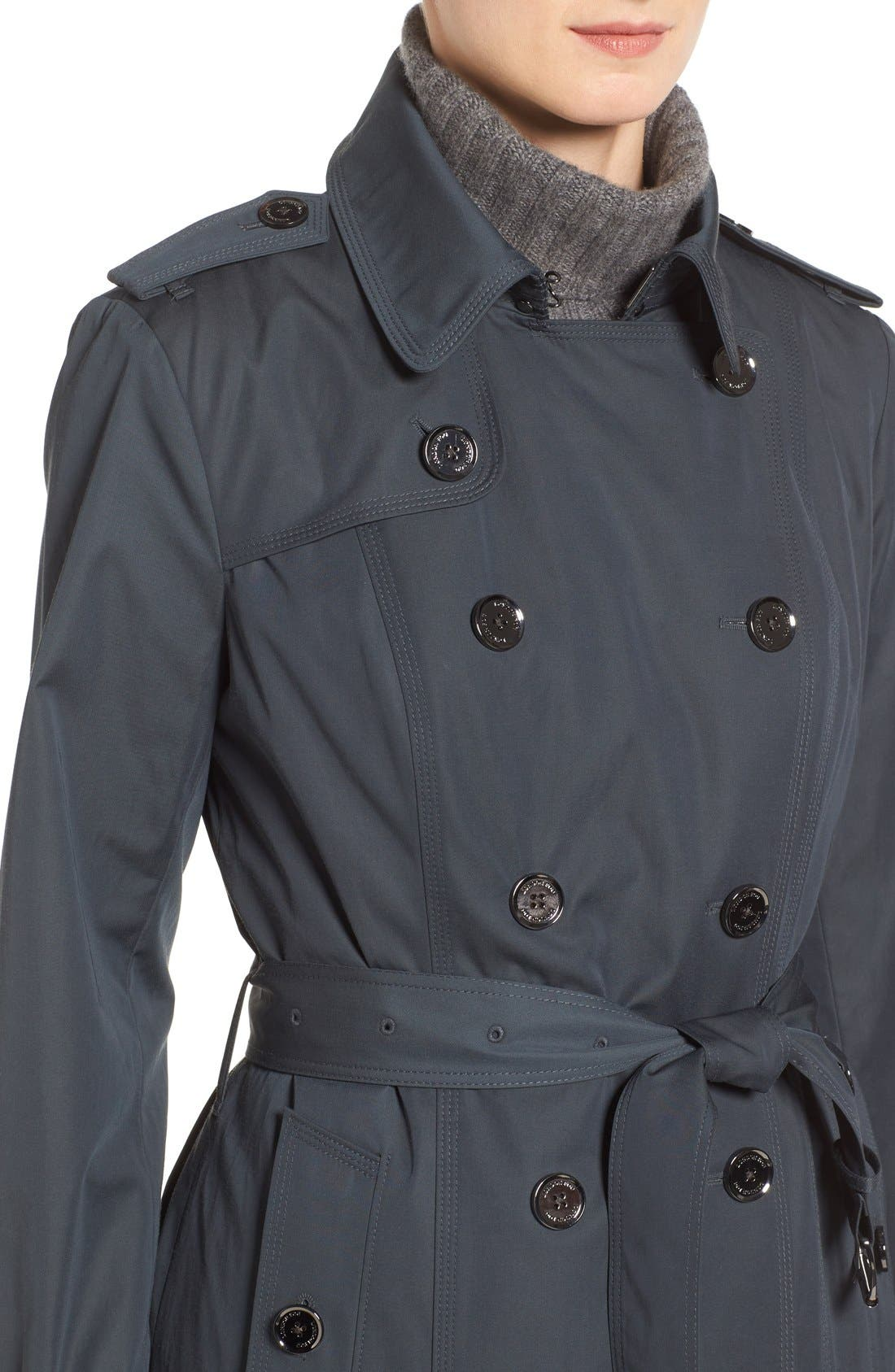 Double Breasted Trench Coat,                             Alternate thumbnail 4, color,                             SLATE