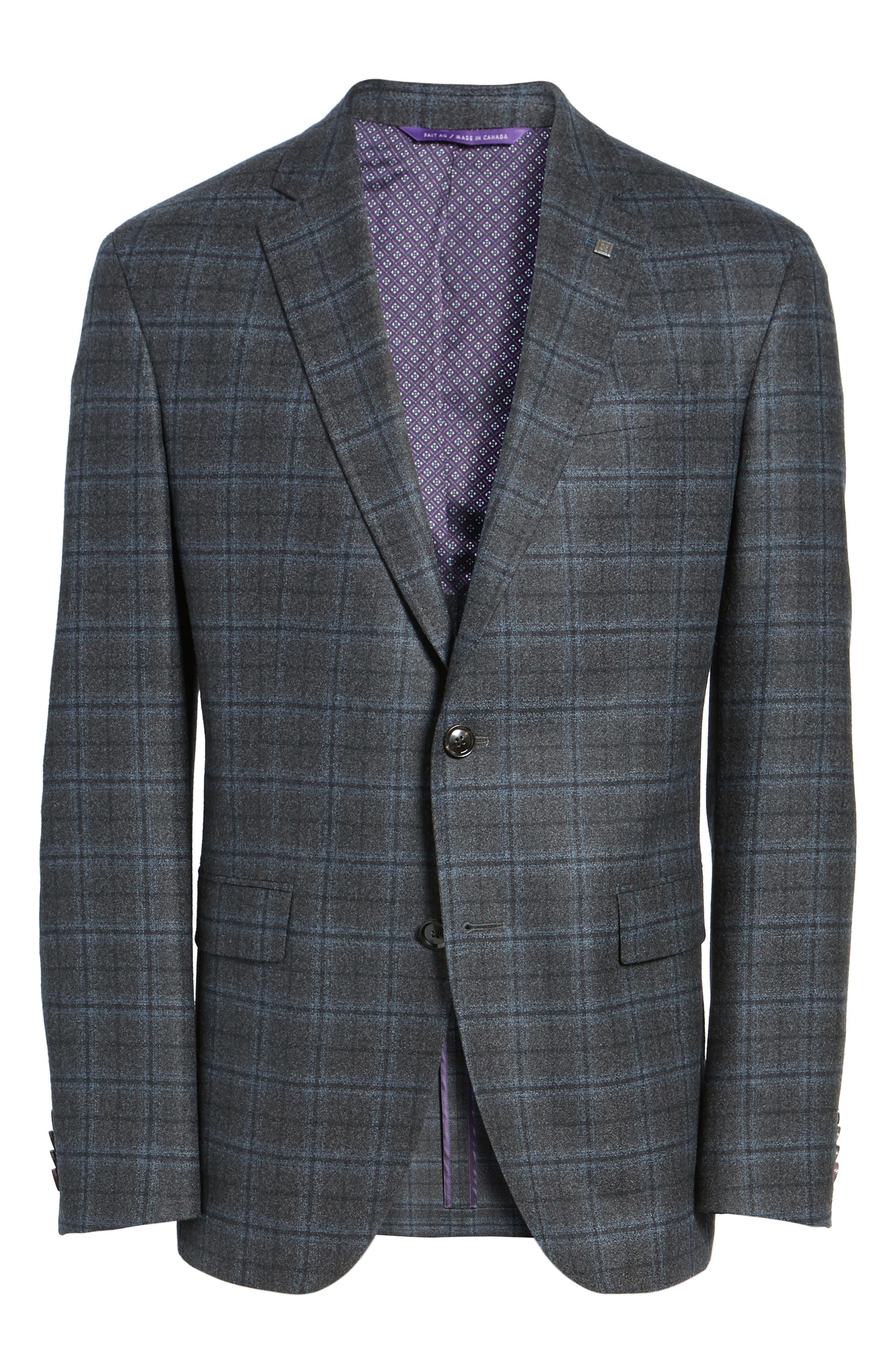 Konan Trim Fit Plaid Wool Sport Coat,                             Alternate thumbnail 5, color,                             020