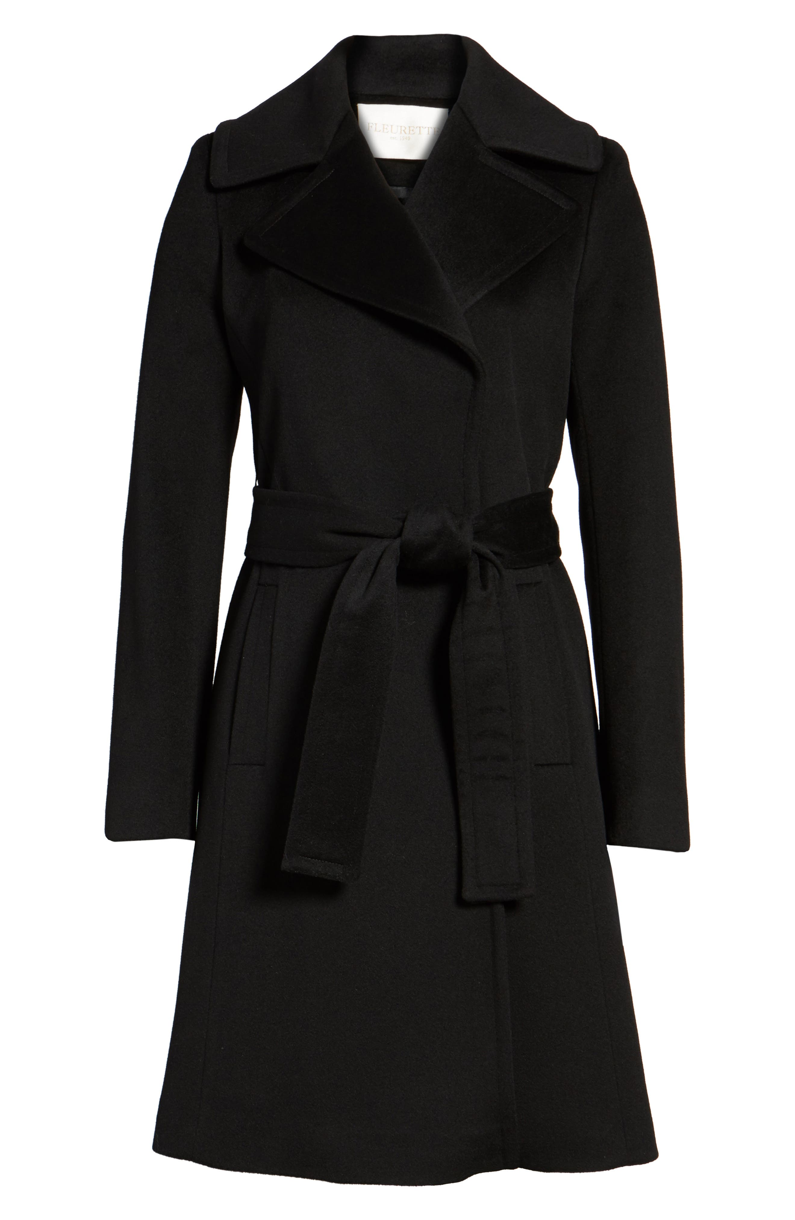 Wool Wrap Coat,                             Alternate thumbnail 5, color,                             001