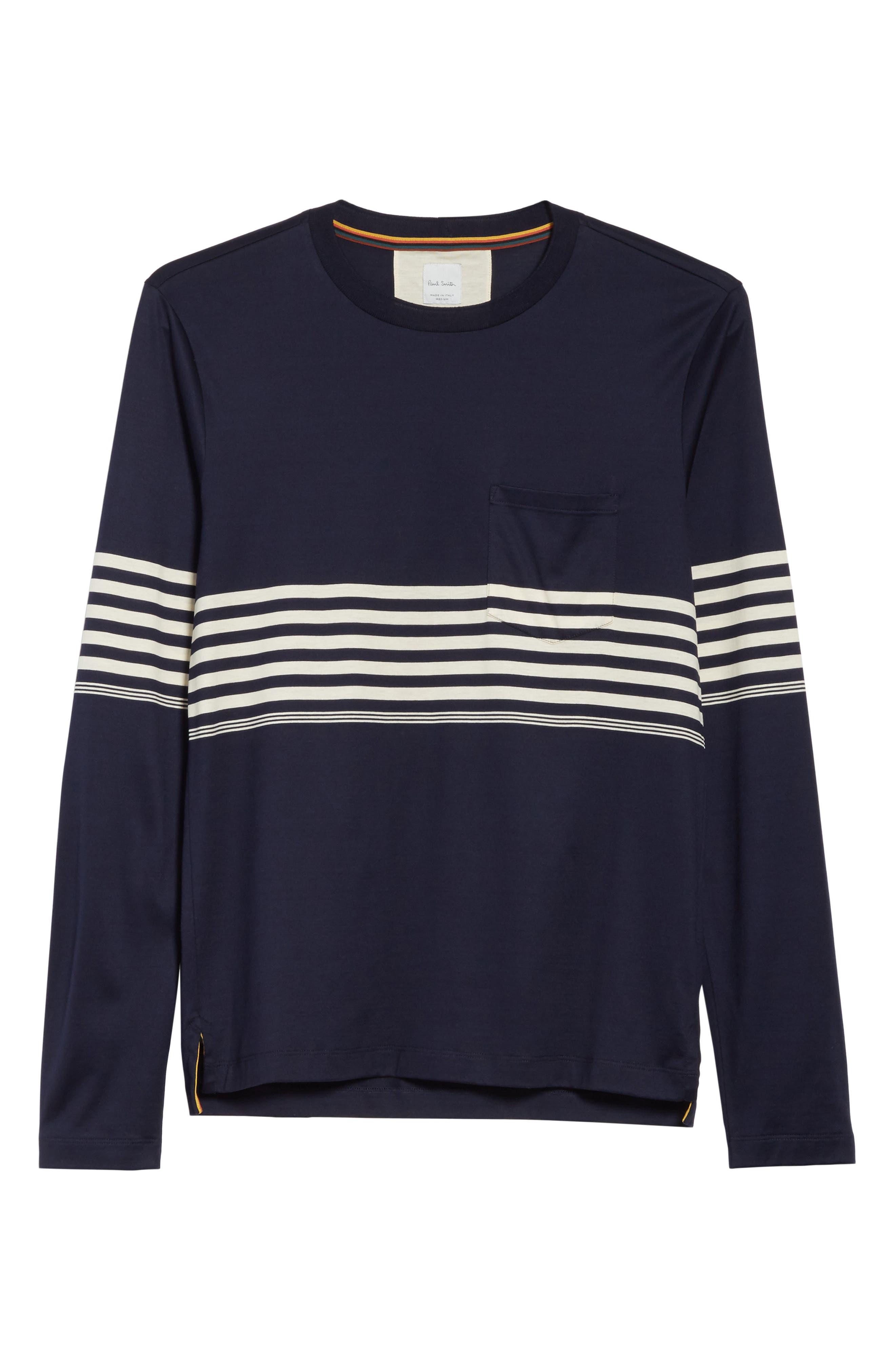 Stripe Long Sleeve T-Shirt,                             Alternate thumbnail 6, color,                             410