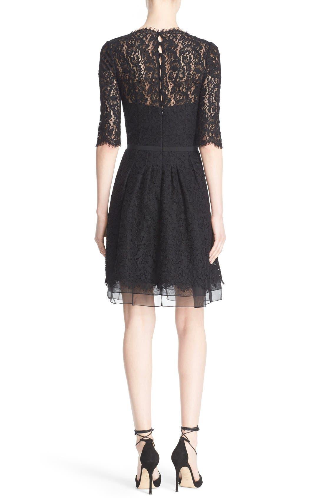 Lace A-Line Cocktail Dress,                             Alternate thumbnail 3, color,                             001