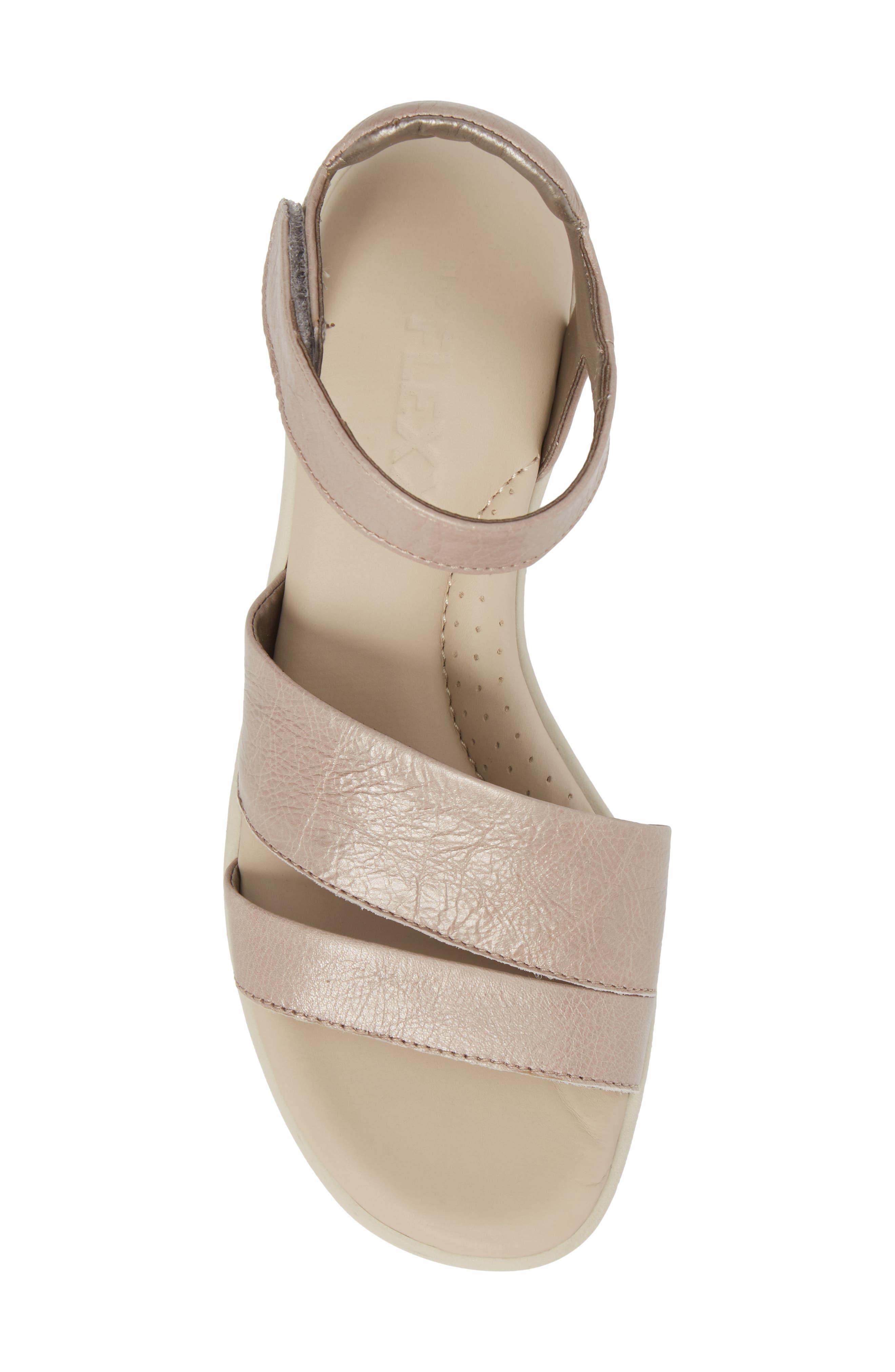 Crossover Ankle Strap Sandal,                             Alternate thumbnail 5, color,                             HAZE CRACKLED LEATHER
