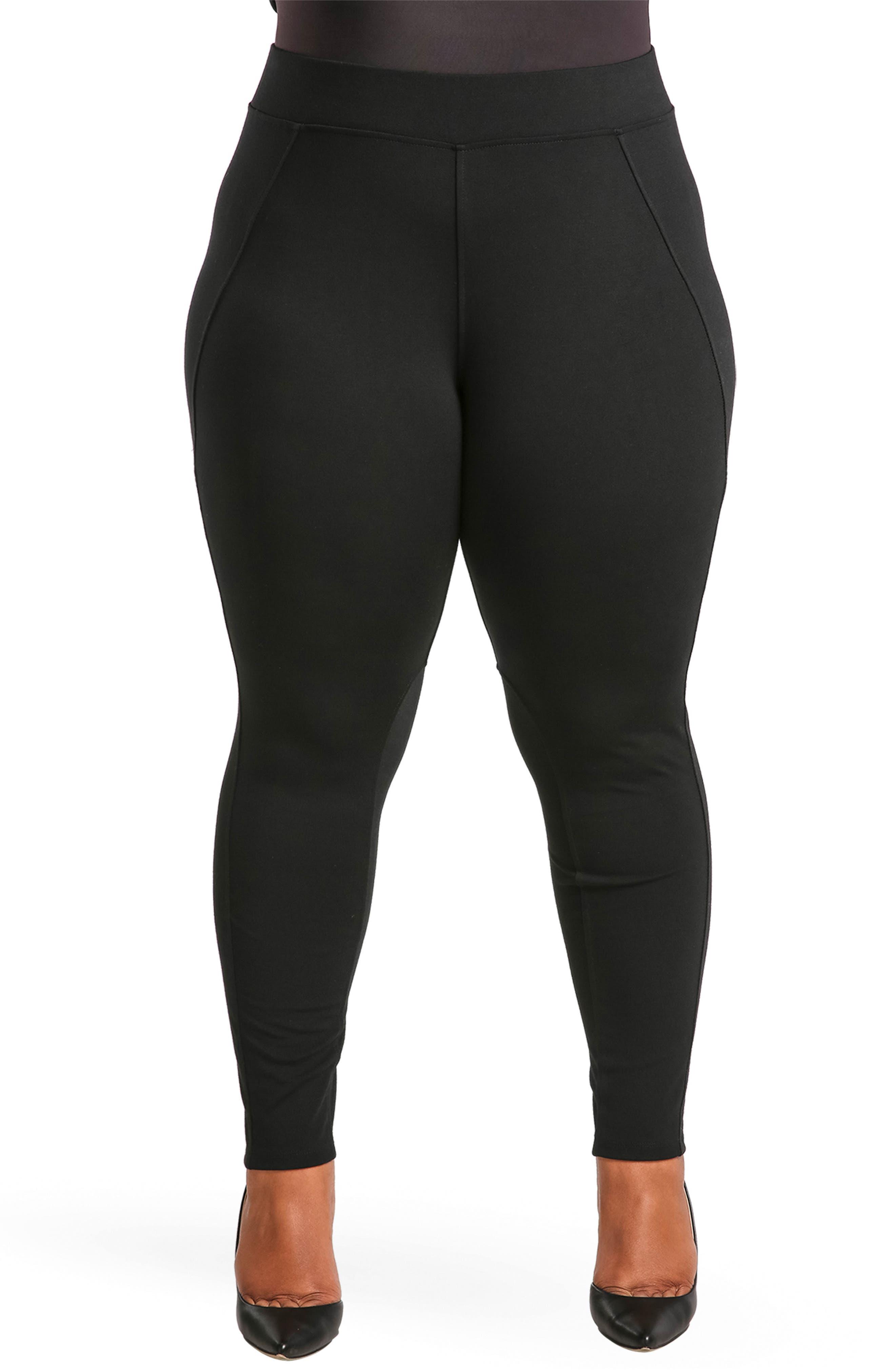 Michelle Ponte Knit Leggings,                         Main,                         color, BLACK