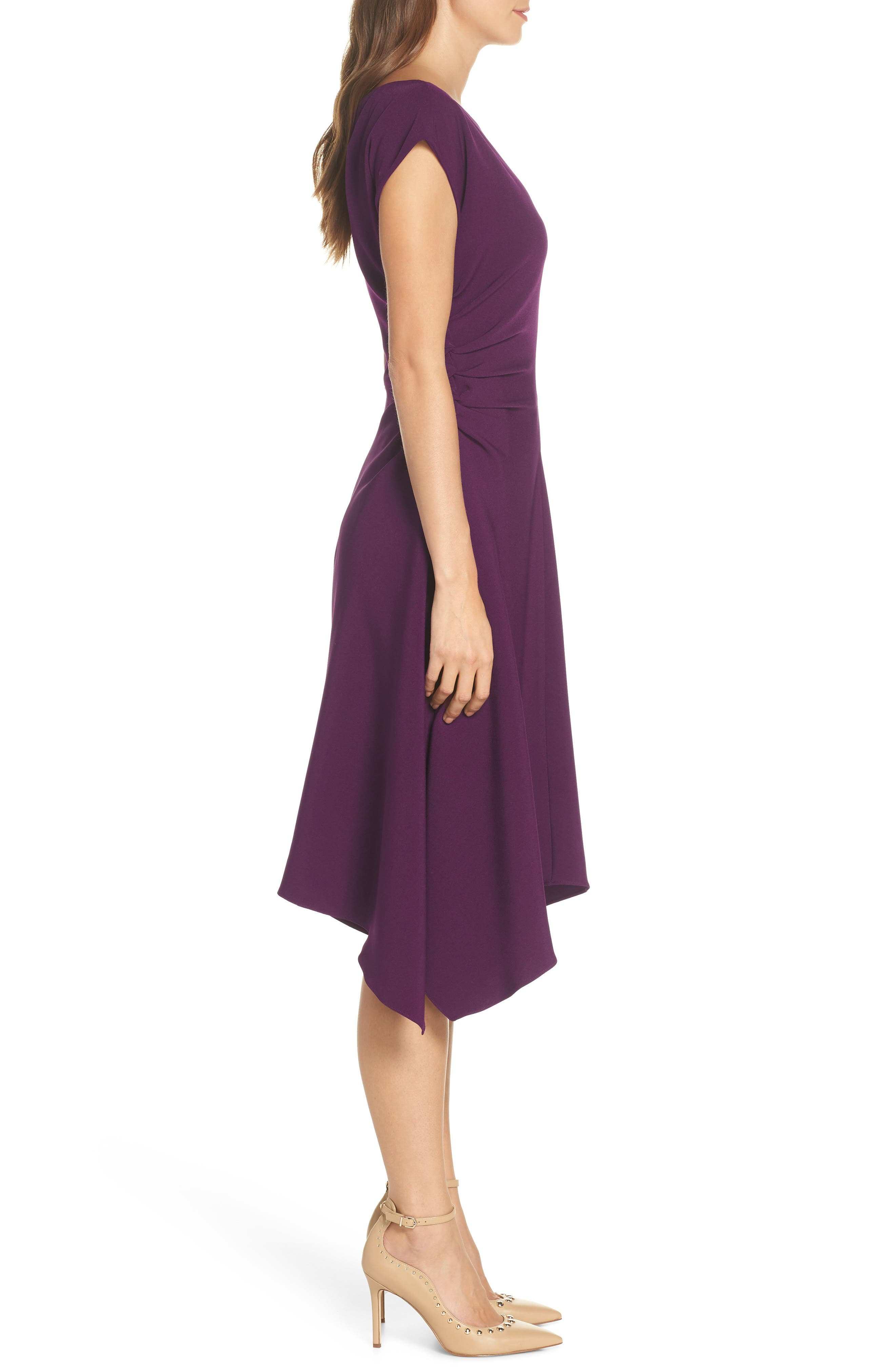 JULIA JORDAN,                             Ruched Stretch Crepe Fit & Flare Dress,                             Alternate thumbnail 3, color,                             PLUM