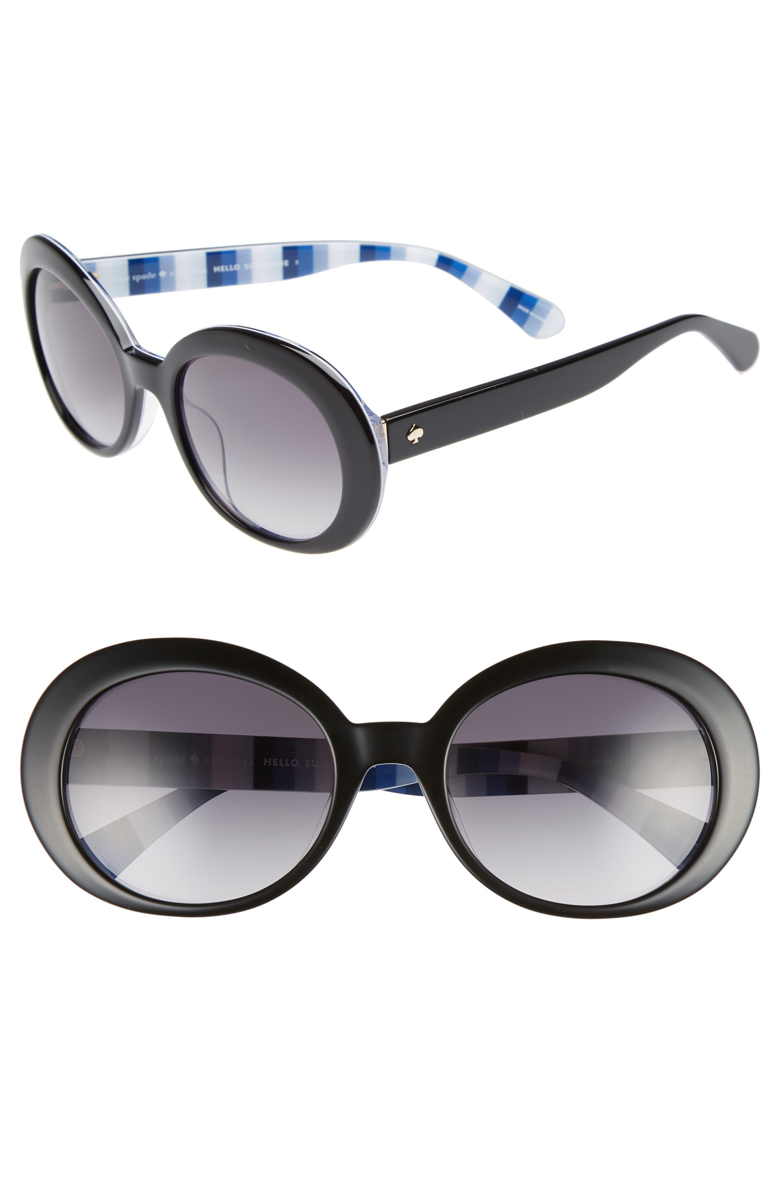 cindra 54mm gradient round sunglasses,                         Main,                         color, BLACK