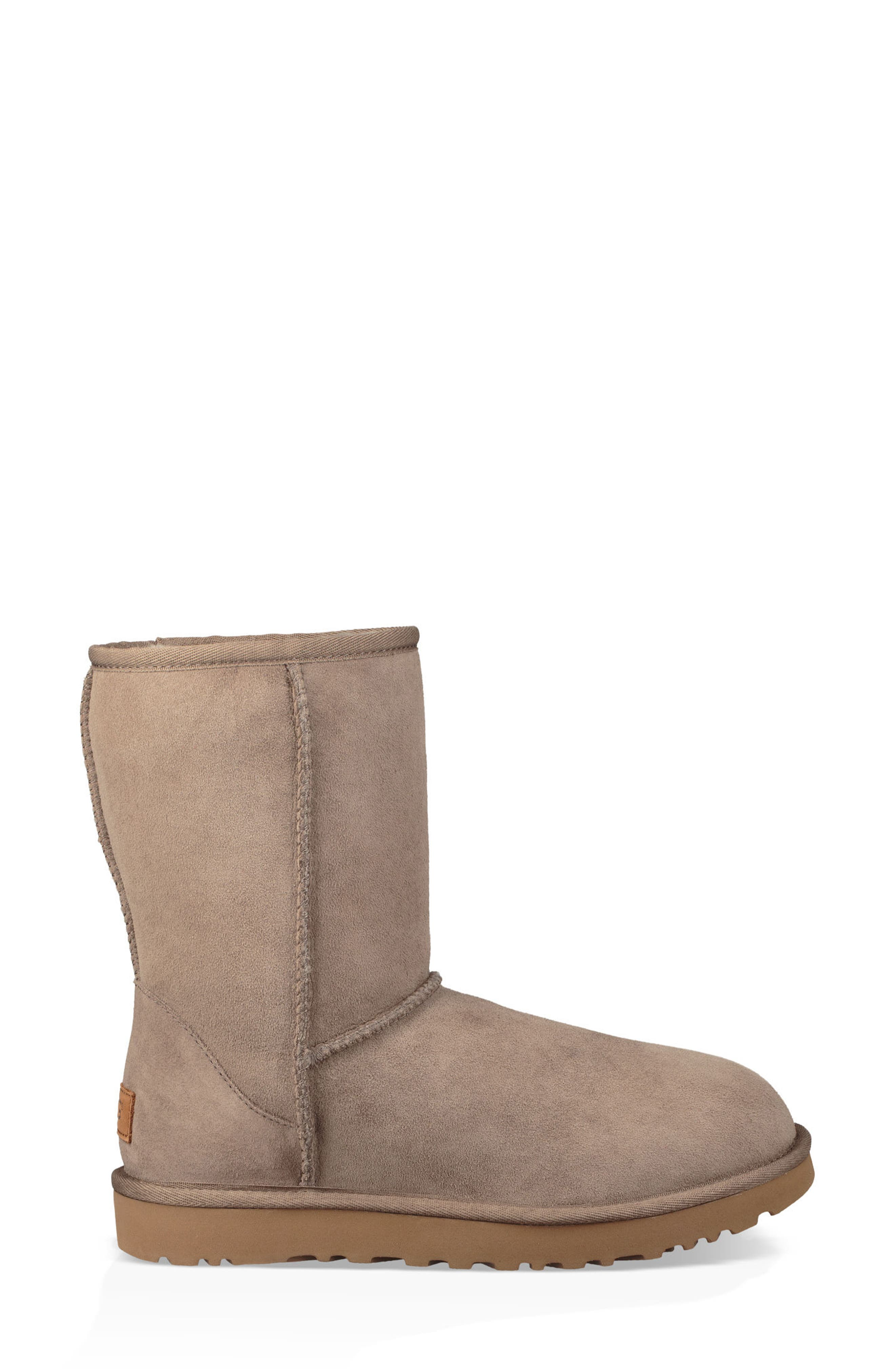 'Classic II' Genuine Shearling Lined Short Boot,                             Alternate thumbnail 4, color,                             BRINDLE SUEDE
