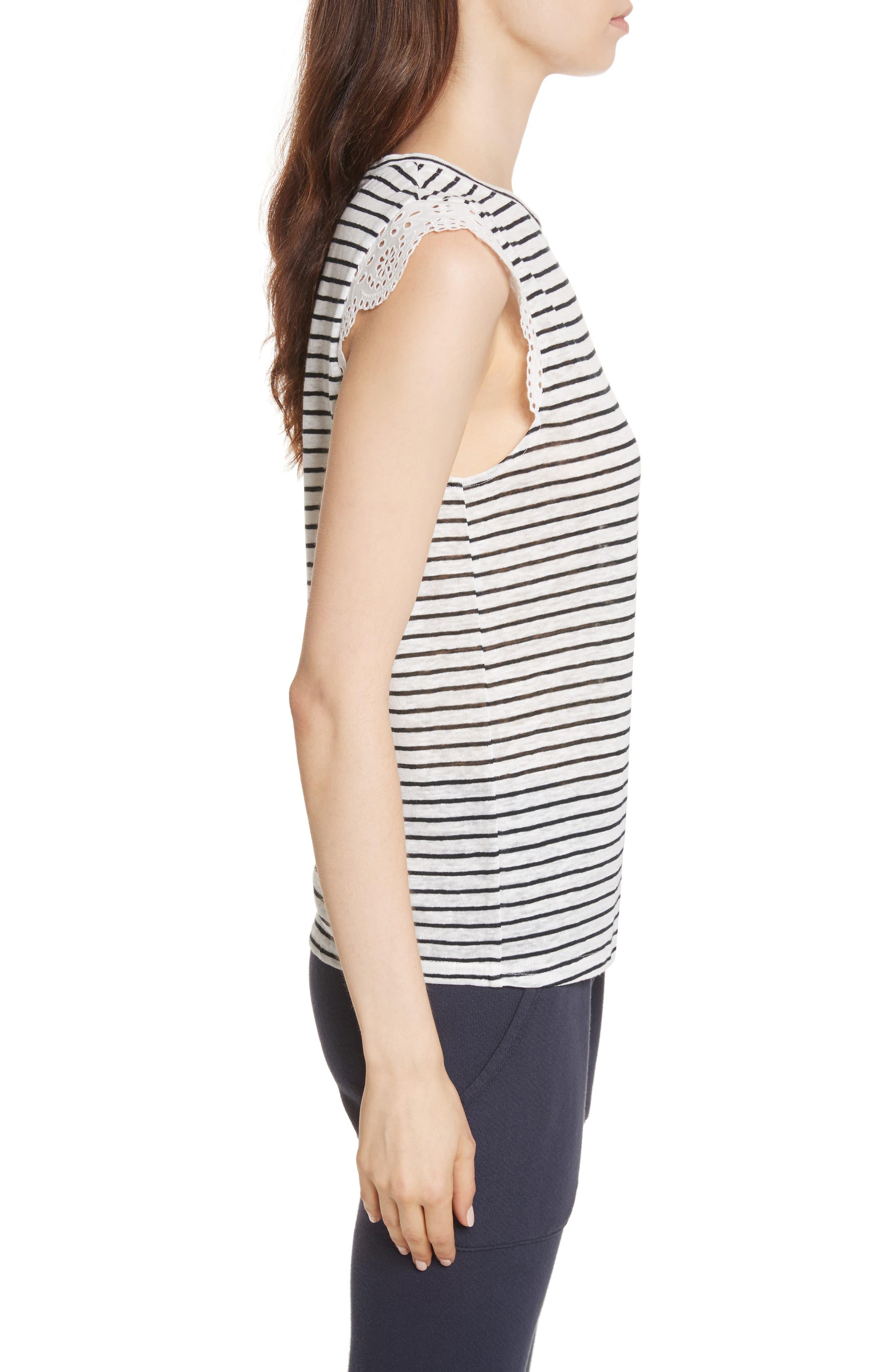 Acenath Eyelet Sleeve Stripe Linen Tee,                             Alternate thumbnail 3, color,                             131