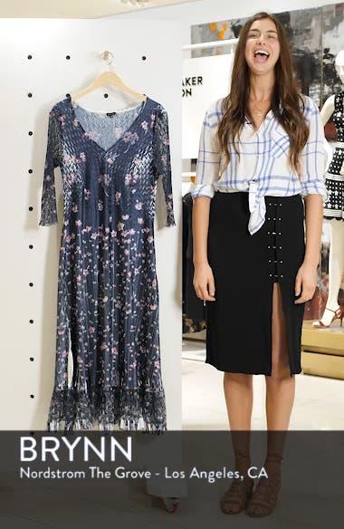 Lace Sleeve Charmeuse Midi Dress, sales video thumbnail