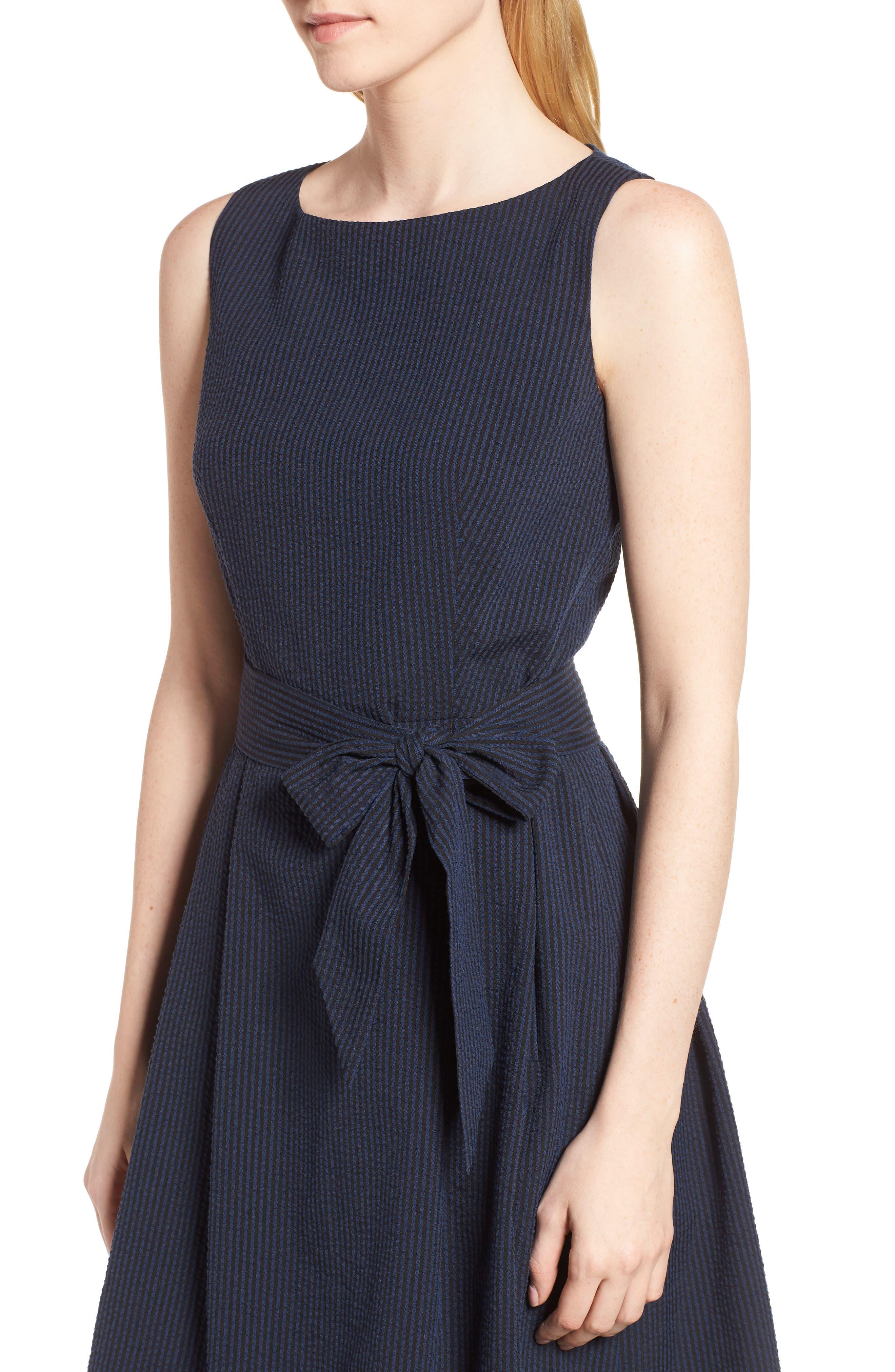 Seersucker Fit & Flare Dress,                             Alternate thumbnail 4, color,                             400