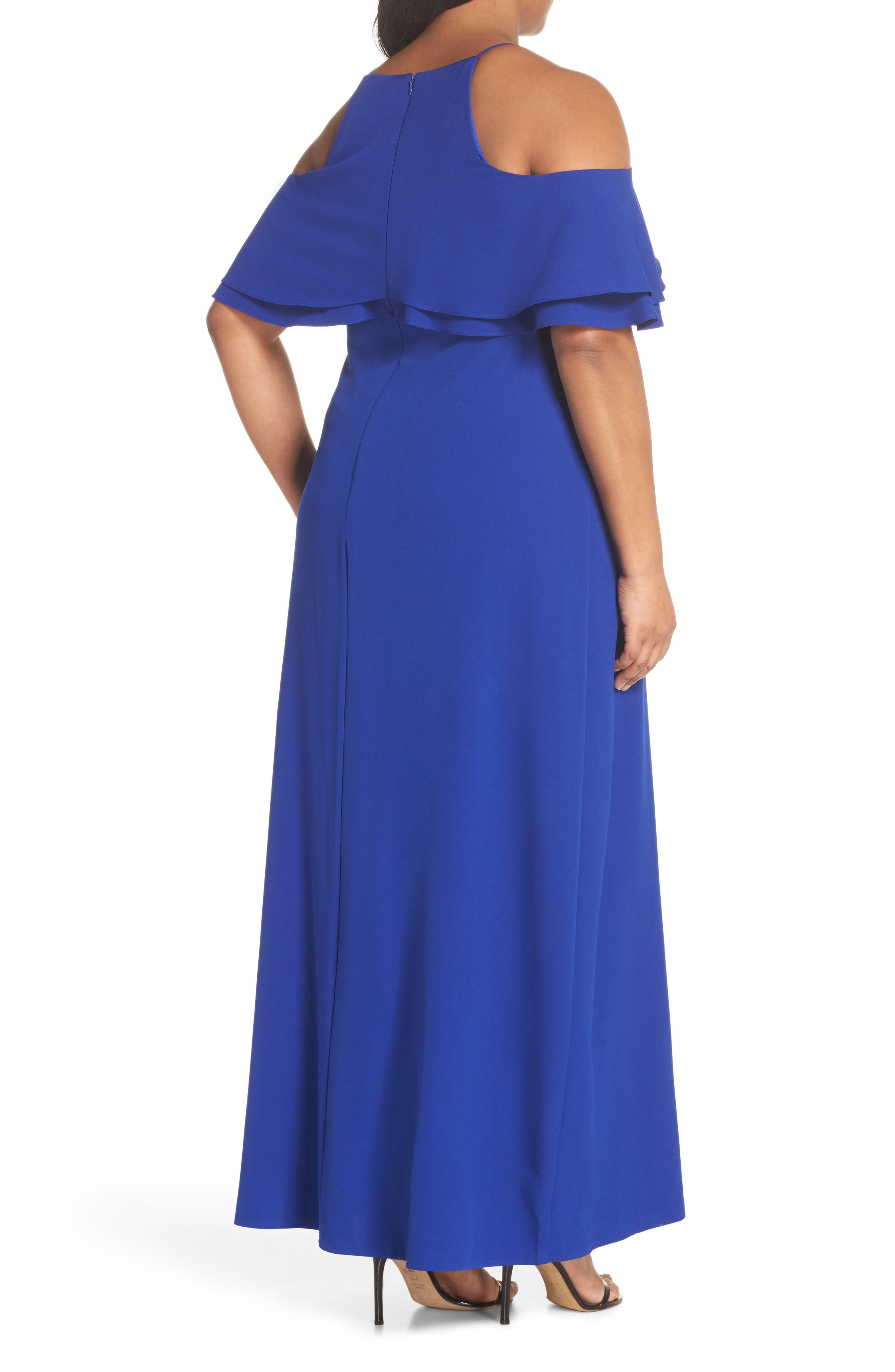 Ruffle Cold Shoulder Gown,                             Alternate thumbnail 2, color,                             400