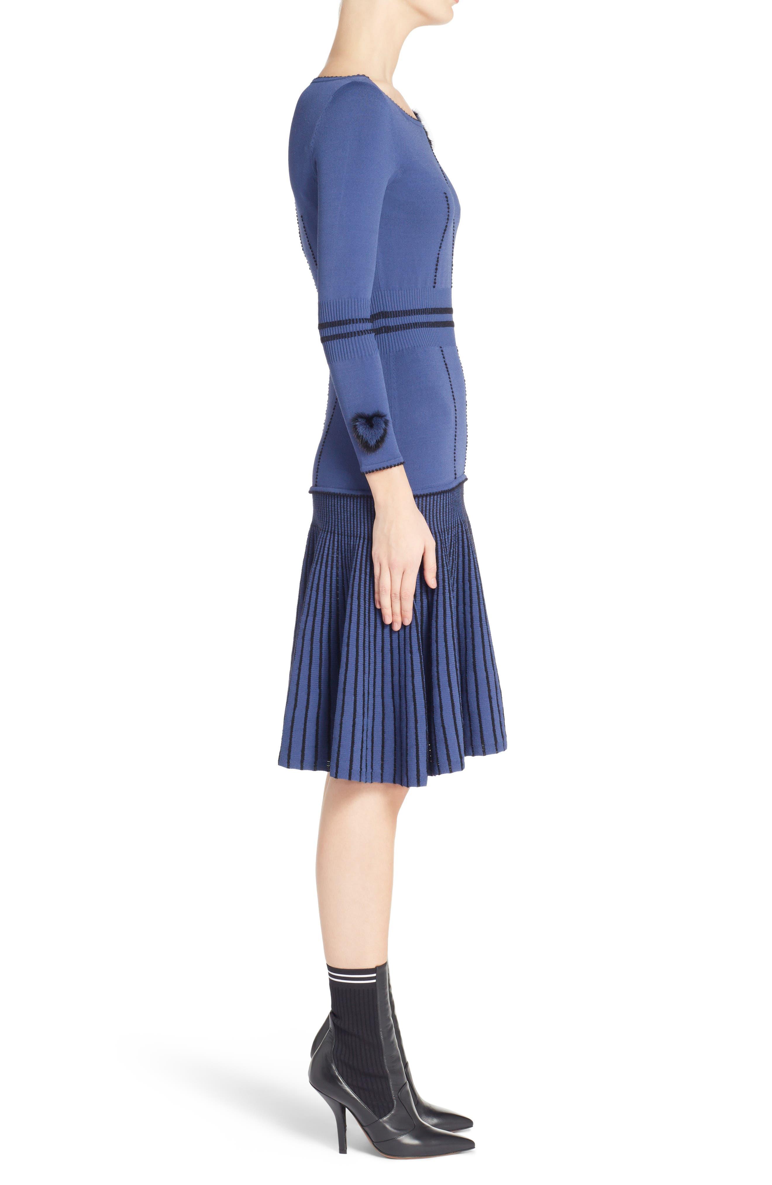 Knit Drop Waist Dress with Genuine Mink Fur Trim,                             Alternate thumbnail 3, color,                             BLUE