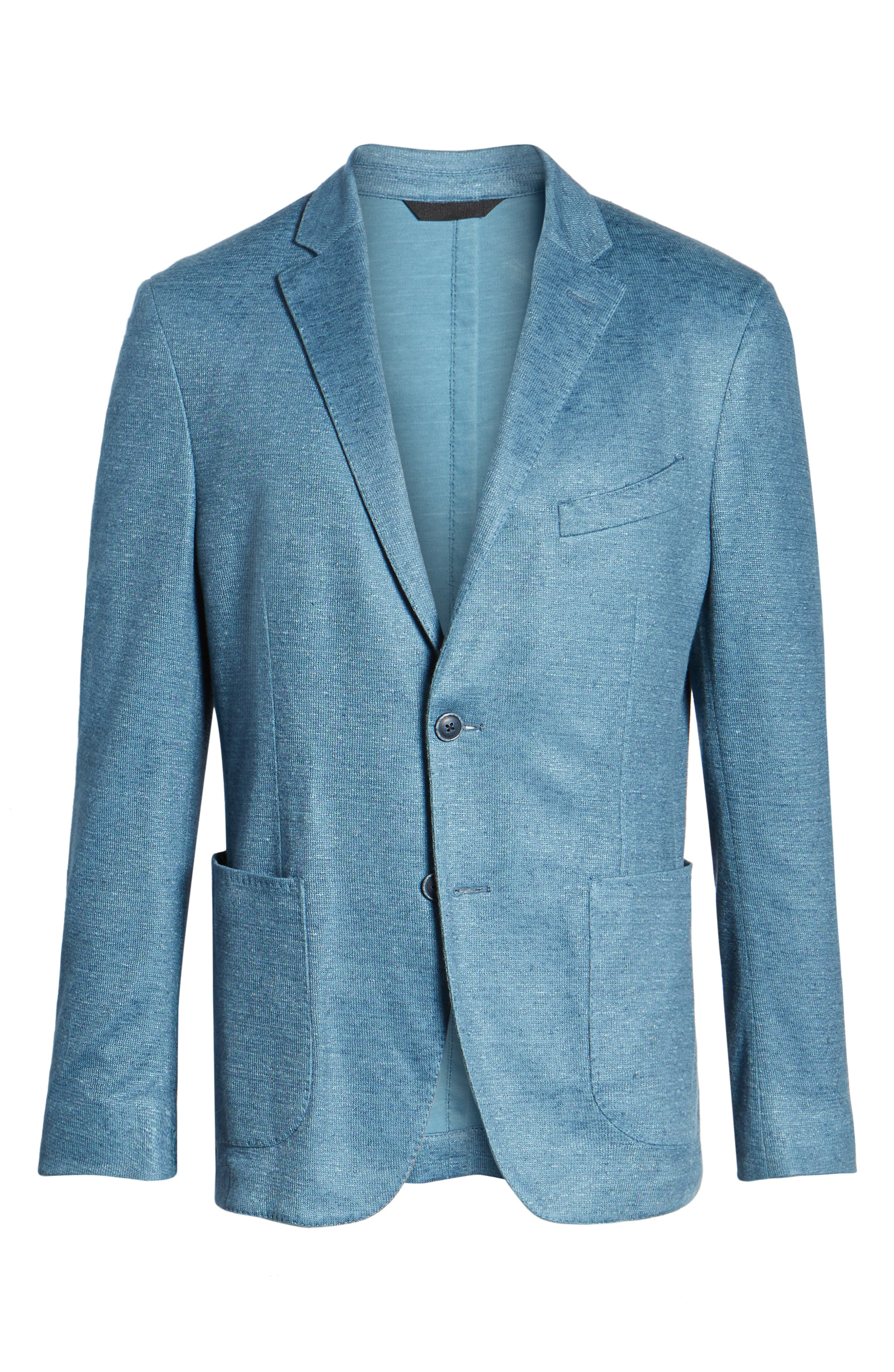 Trim Fit Heathered Jersey Blazer,                             Alternate thumbnail 5, color,                             420