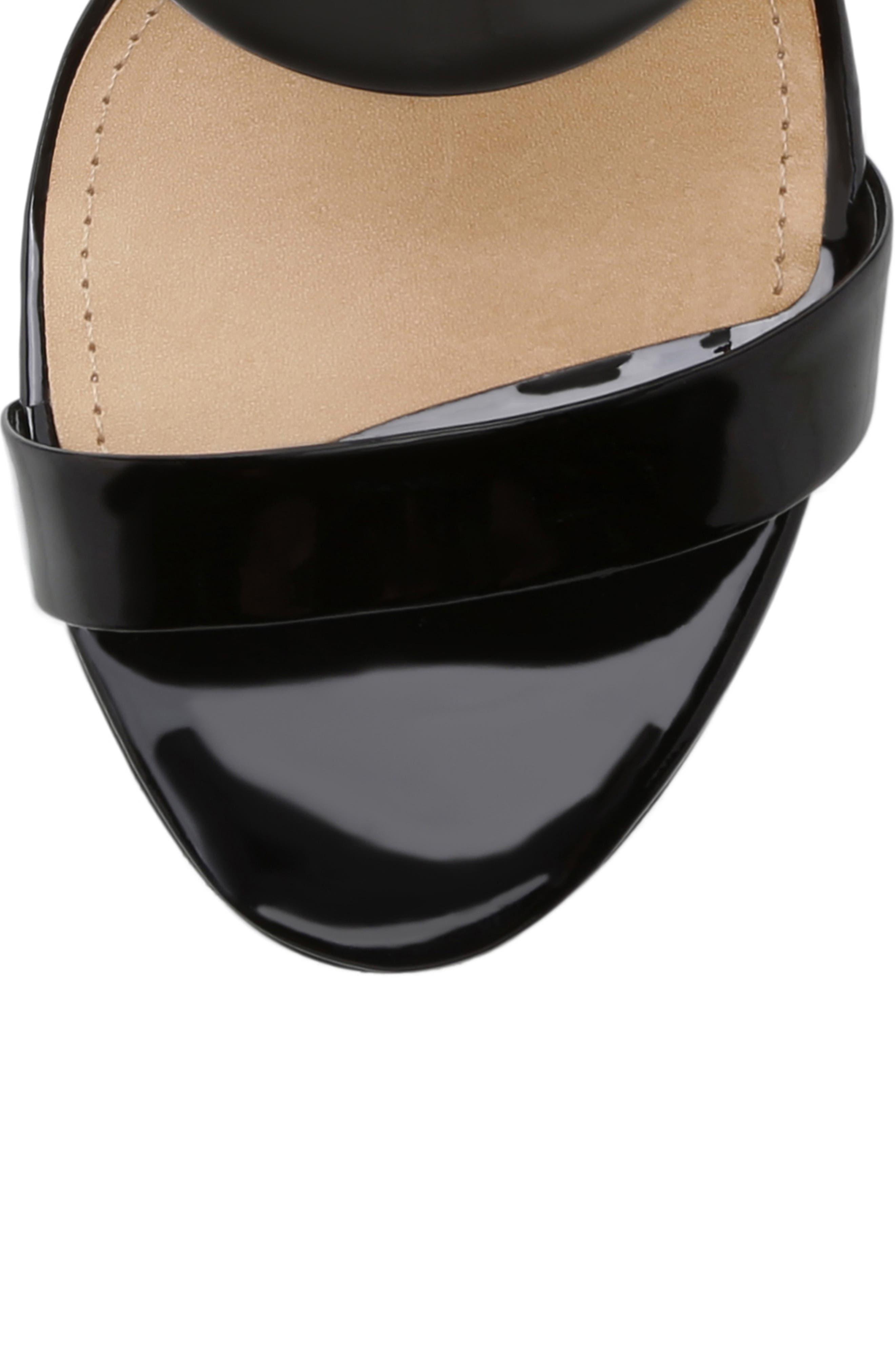 Stiletto Slide Sandal,                             Alternate thumbnail 5, color,                             BLACK PATENT LEATHER