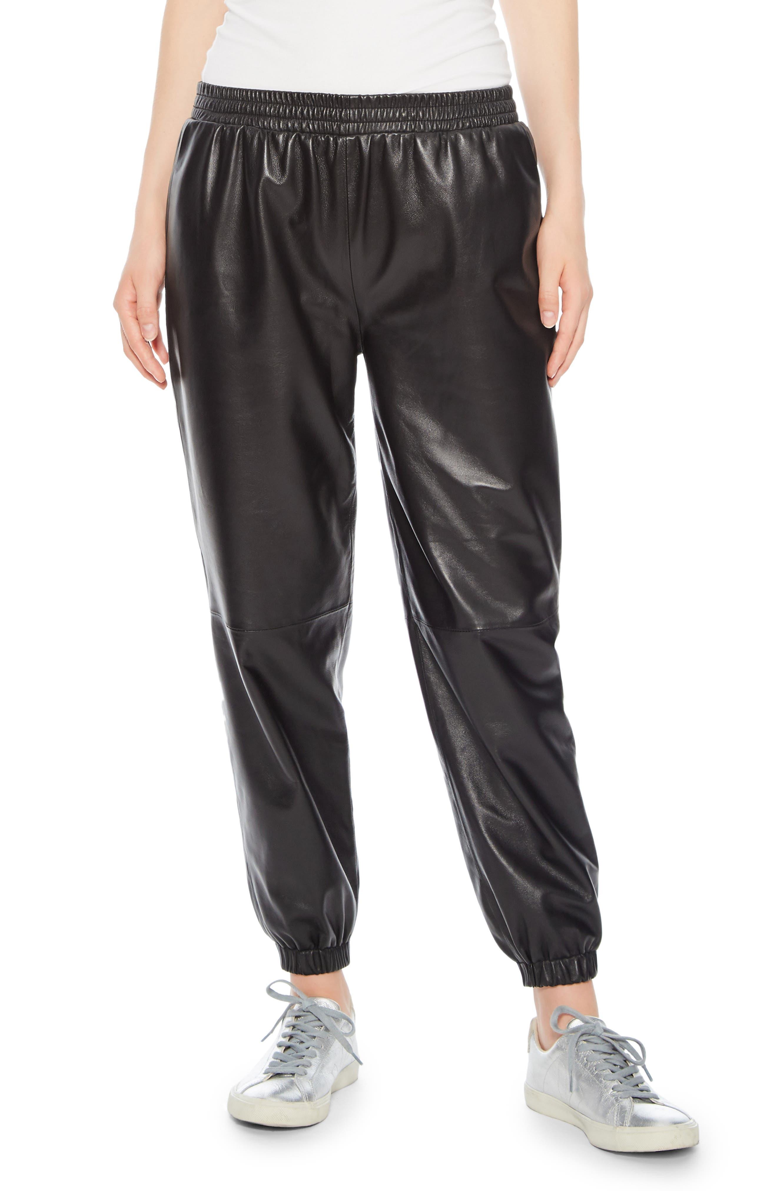 Eavan Leather Jogger Pants,                             Main thumbnail 1, color,                             001