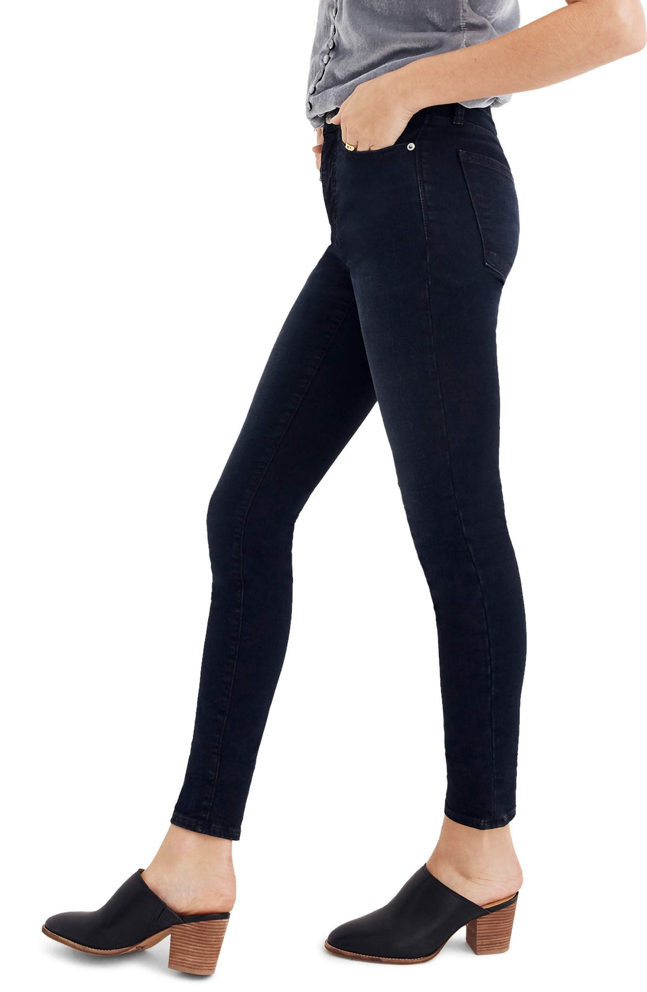 9-Inch High Waist Skinny Jeans,                             Alternate thumbnail 3, color,                             COLD BLUE