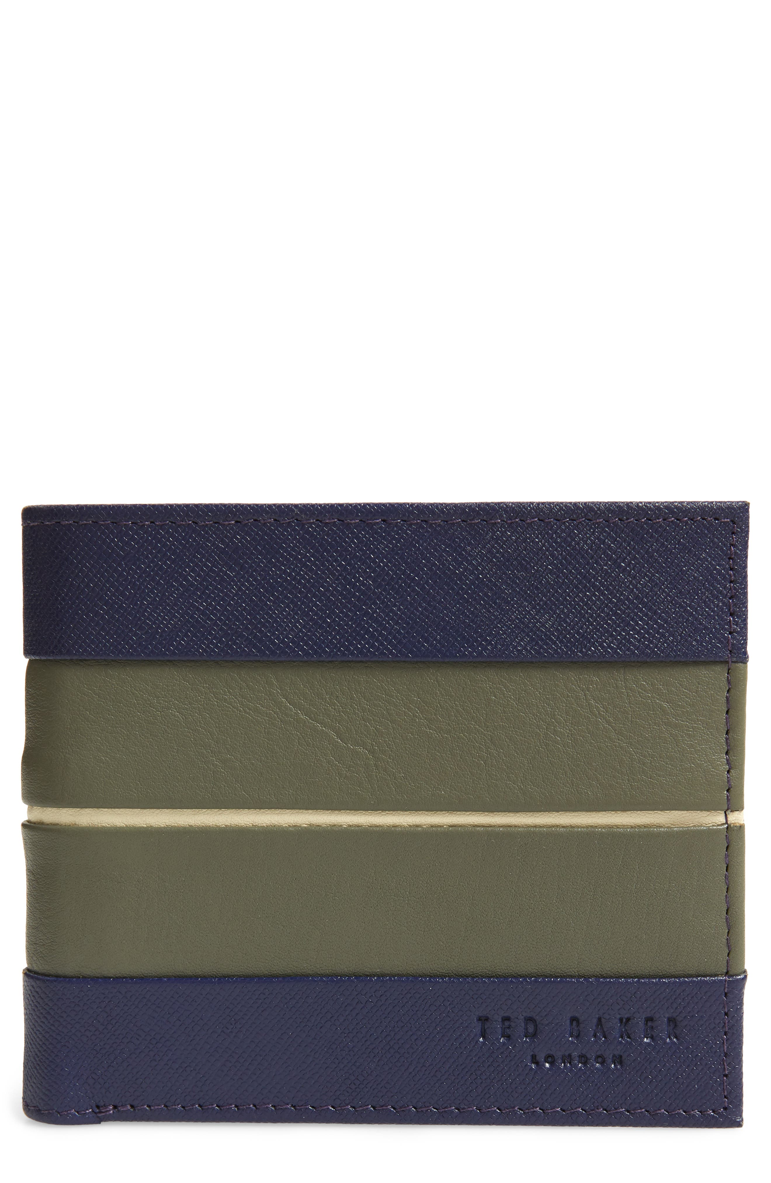 Striped Leather Bifold Wallet,                         Main,                         color, 410