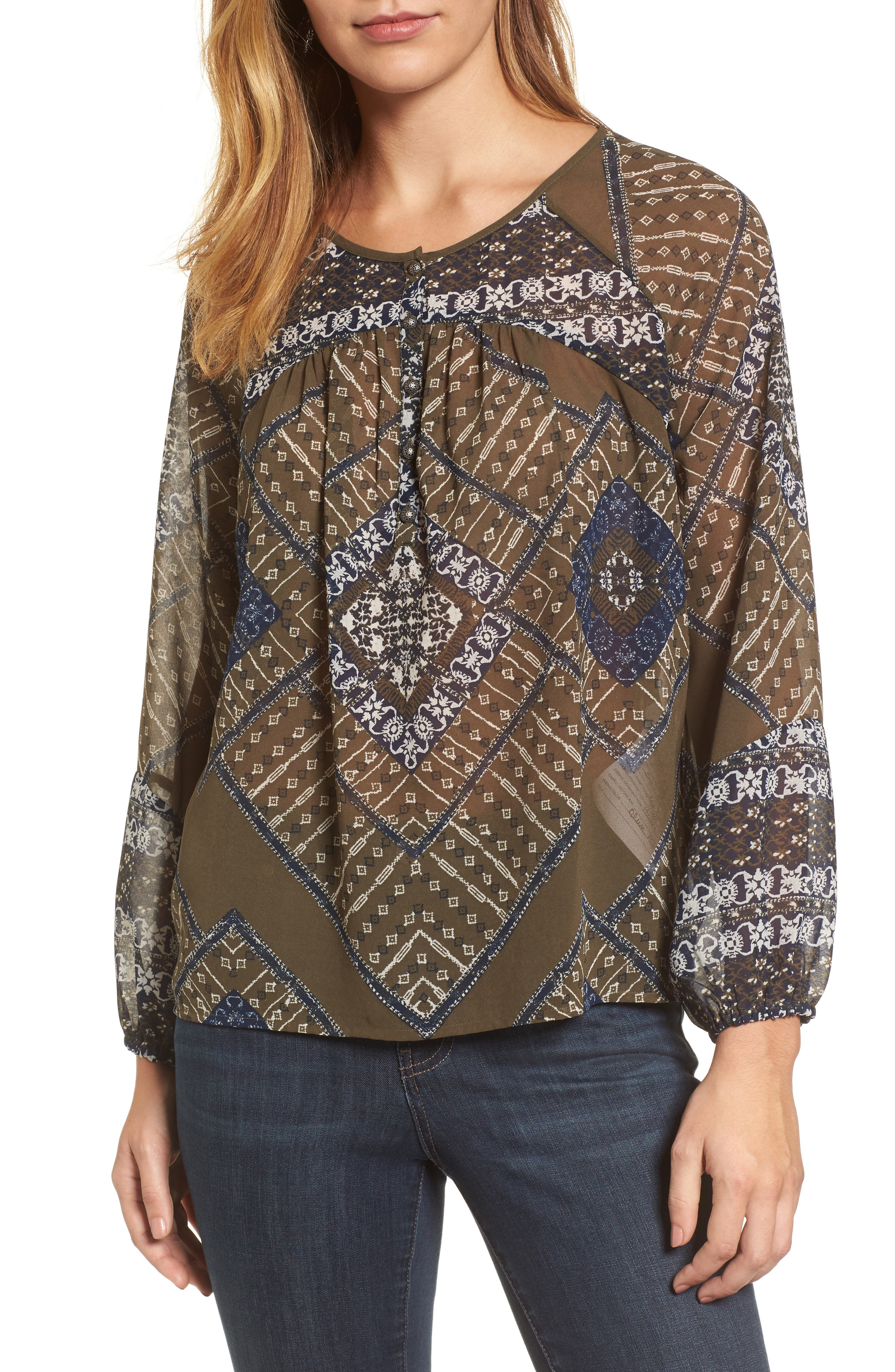 Mixed Print Peasant Top,                             Main thumbnail 1, color,                             340