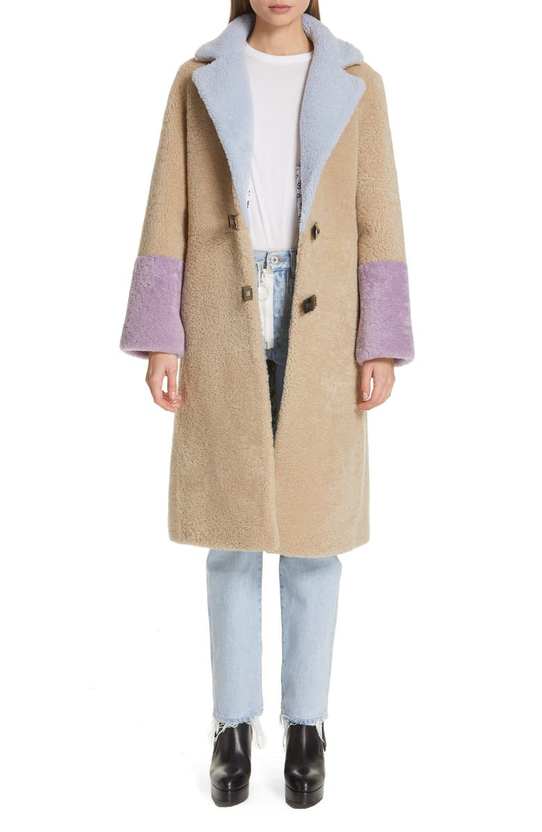Saks Potts FEBBE BUCKLE CLOSURE GENUINE SHEARLING COAT