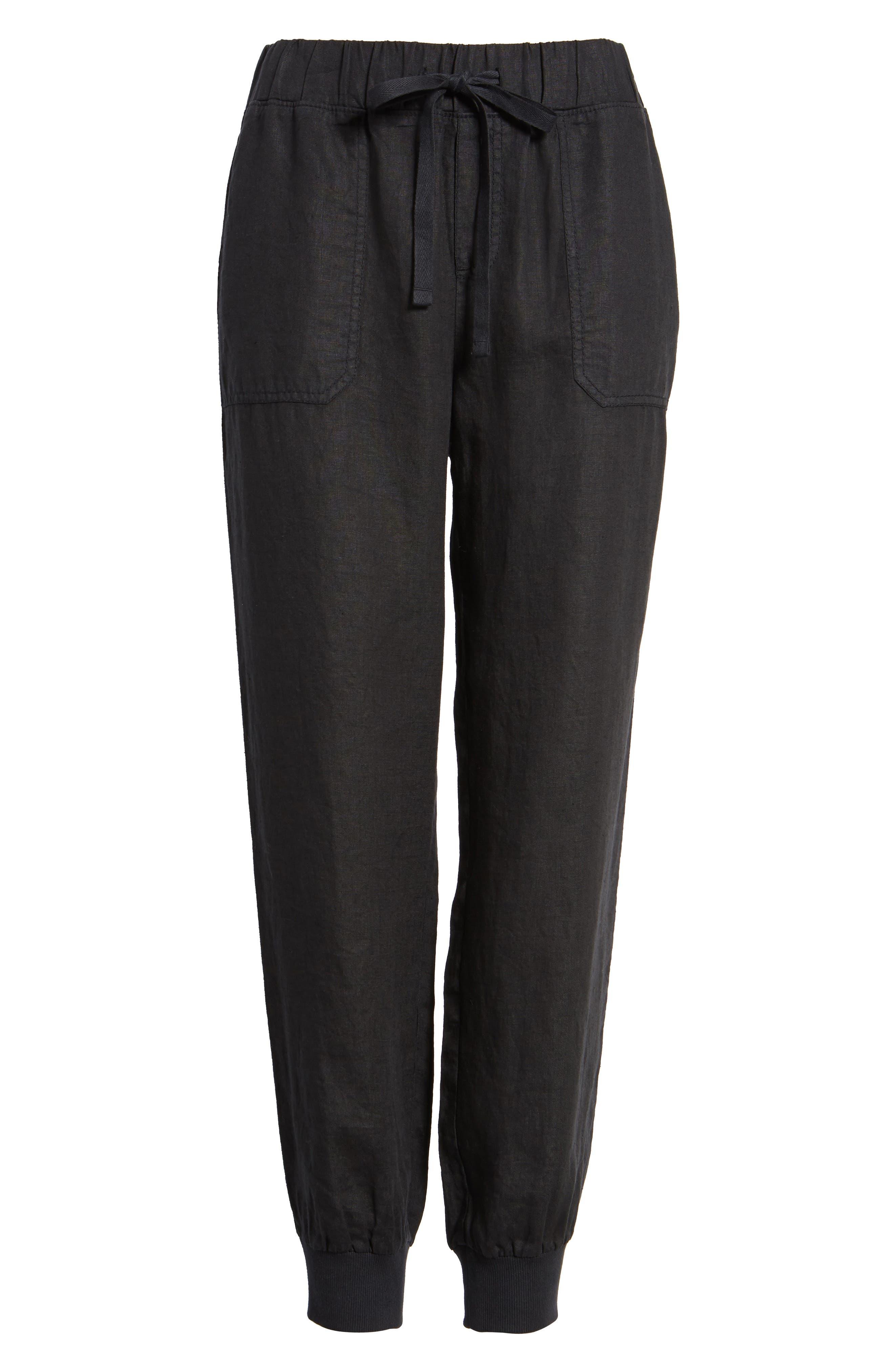 Linen Jogger Pants,                             Alternate thumbnail 7, color,                             BLACK