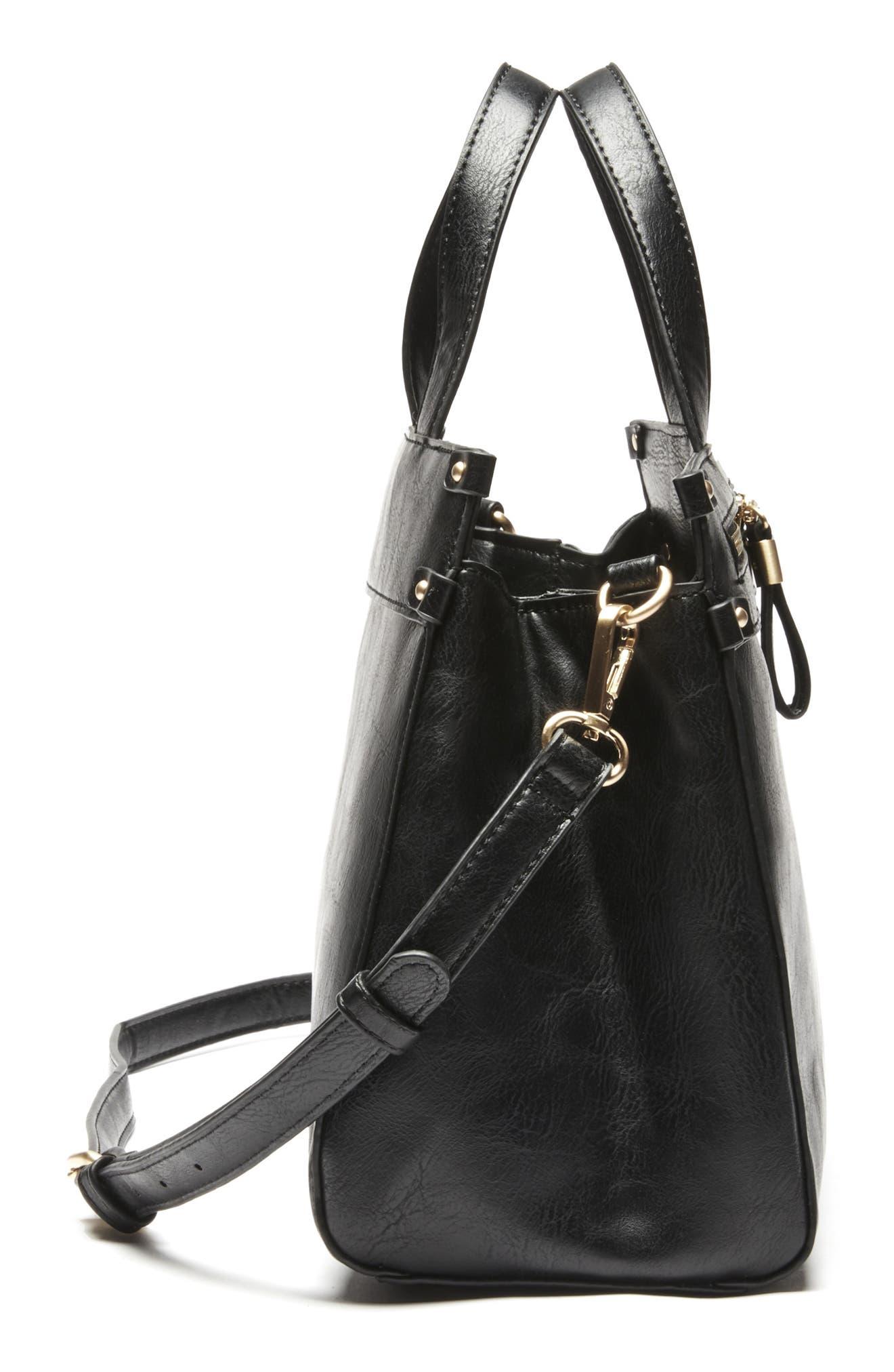 Zypa Faux Leather Satchel,                             Alternate thumbnail 4, color,                             BLACK