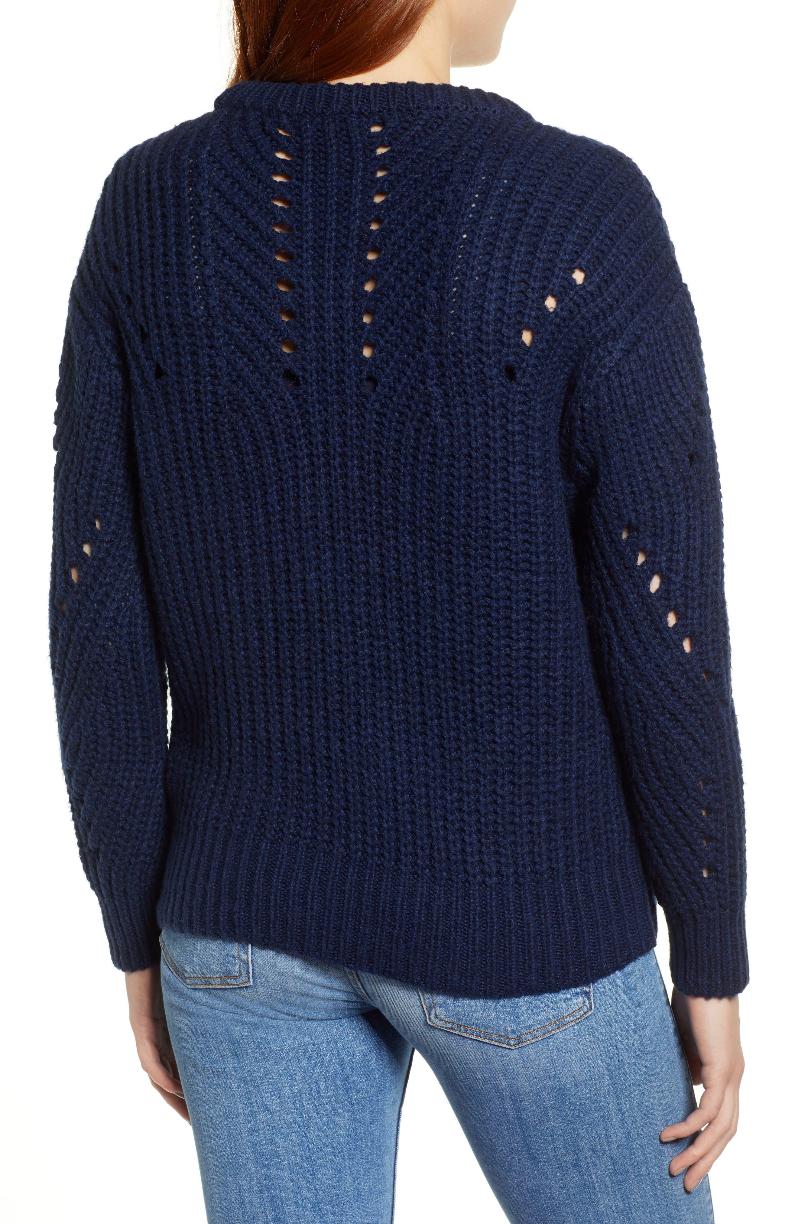 Rib Pointelle Detail Cotton Blend Sweater,                             Alternate thumbnail 2, color,                             CLASSIC NAVY