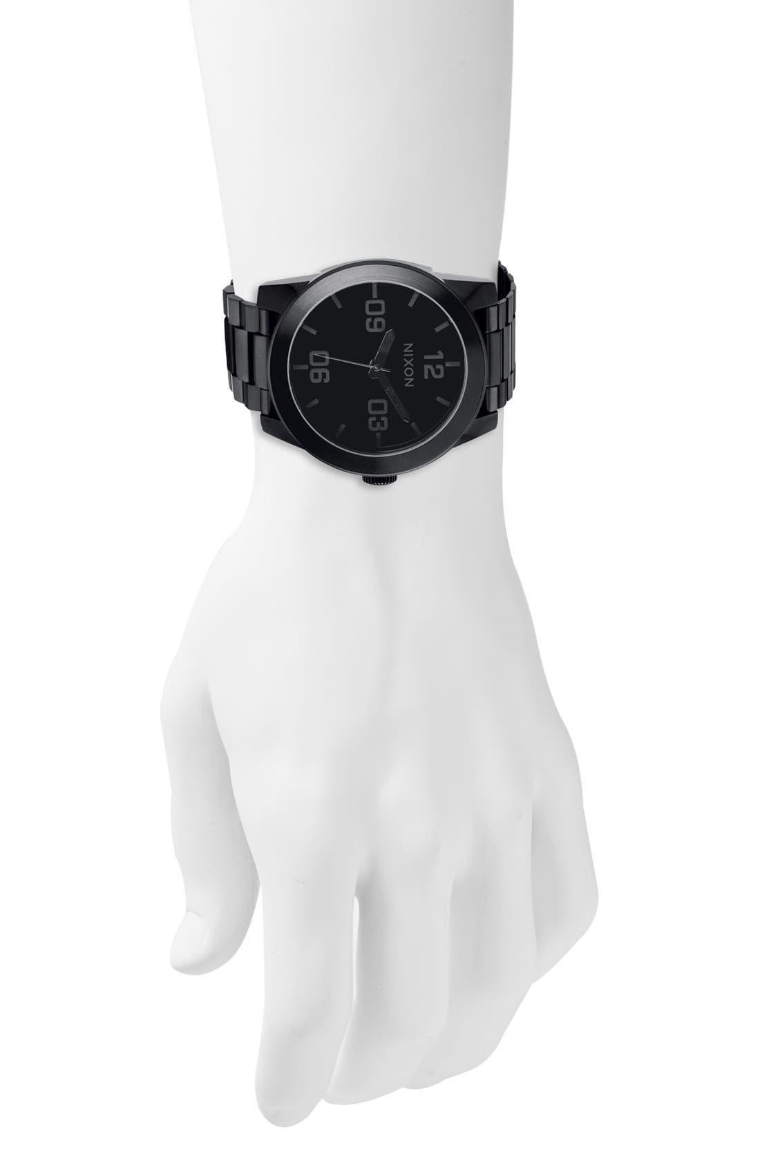 'The Corporal' Bracelet Watch, 48mm,                             Alternate thumbnail 3, color,                             BLACK