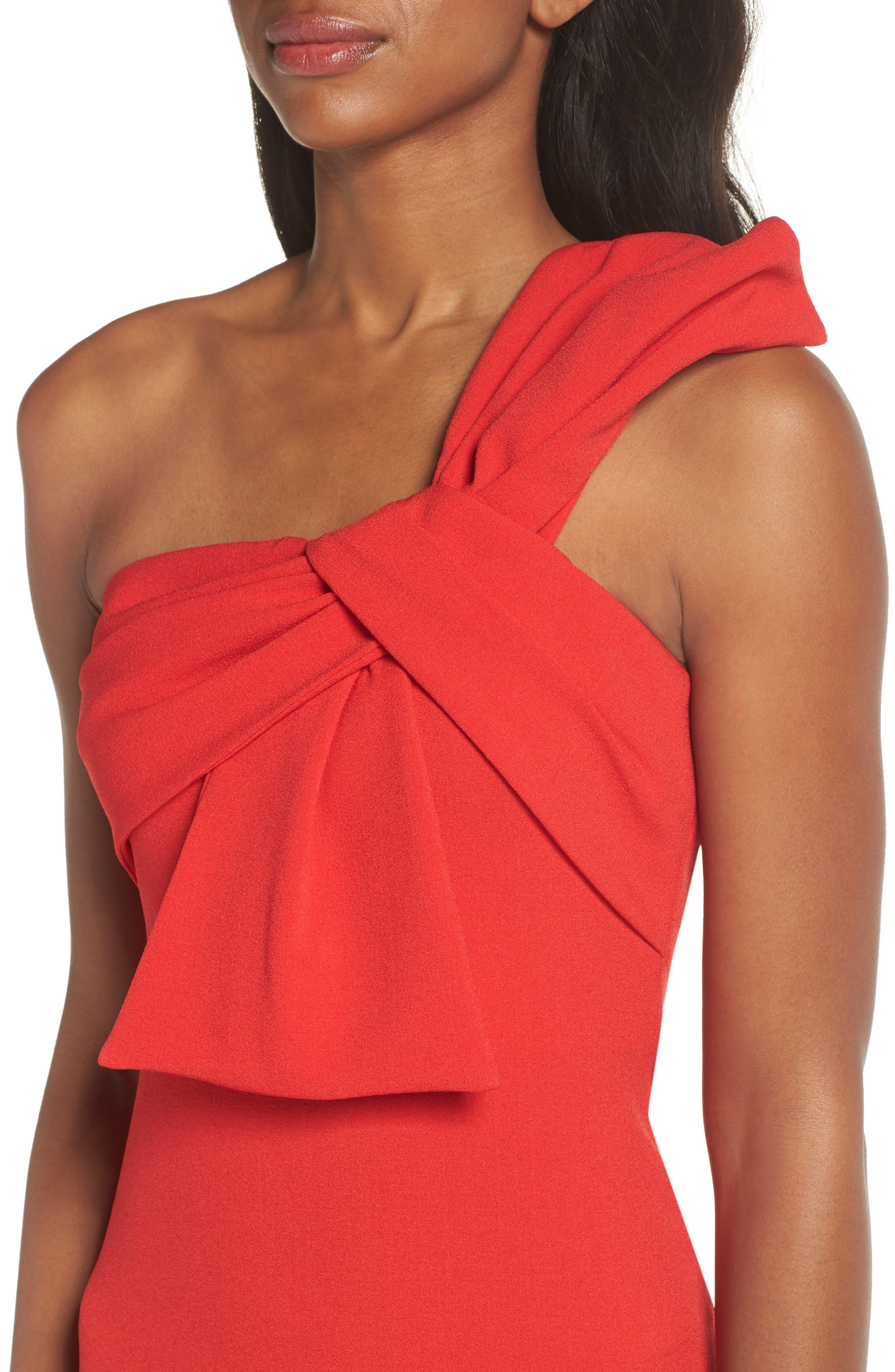 One-Shoulder Twist Front Sheath Dress,                             Alternate thumbnail 4, color,                             RED