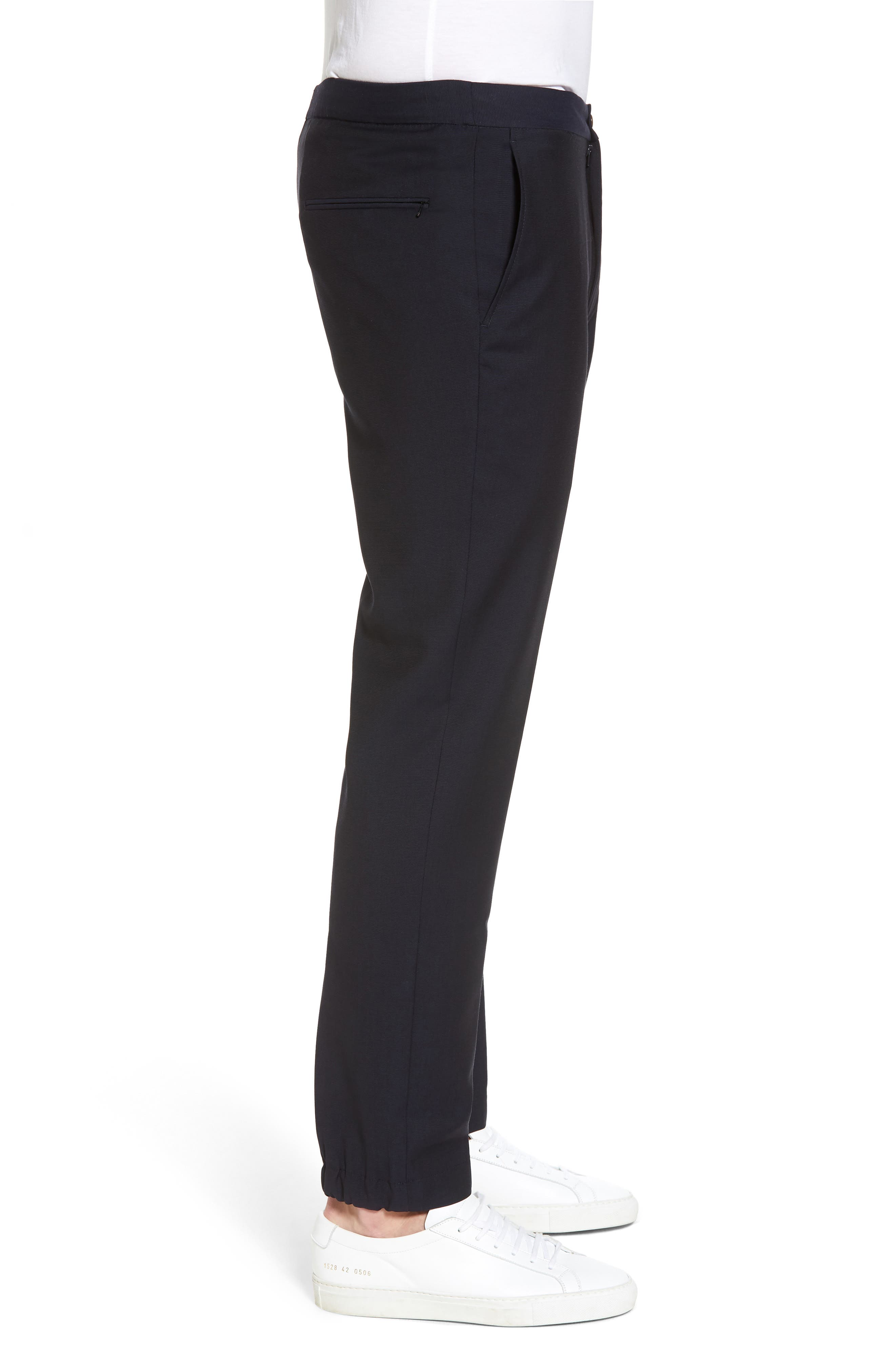 Hybrid Jogger Flat Front Wool Trousers,                             Alternate thumbnail 3, color,