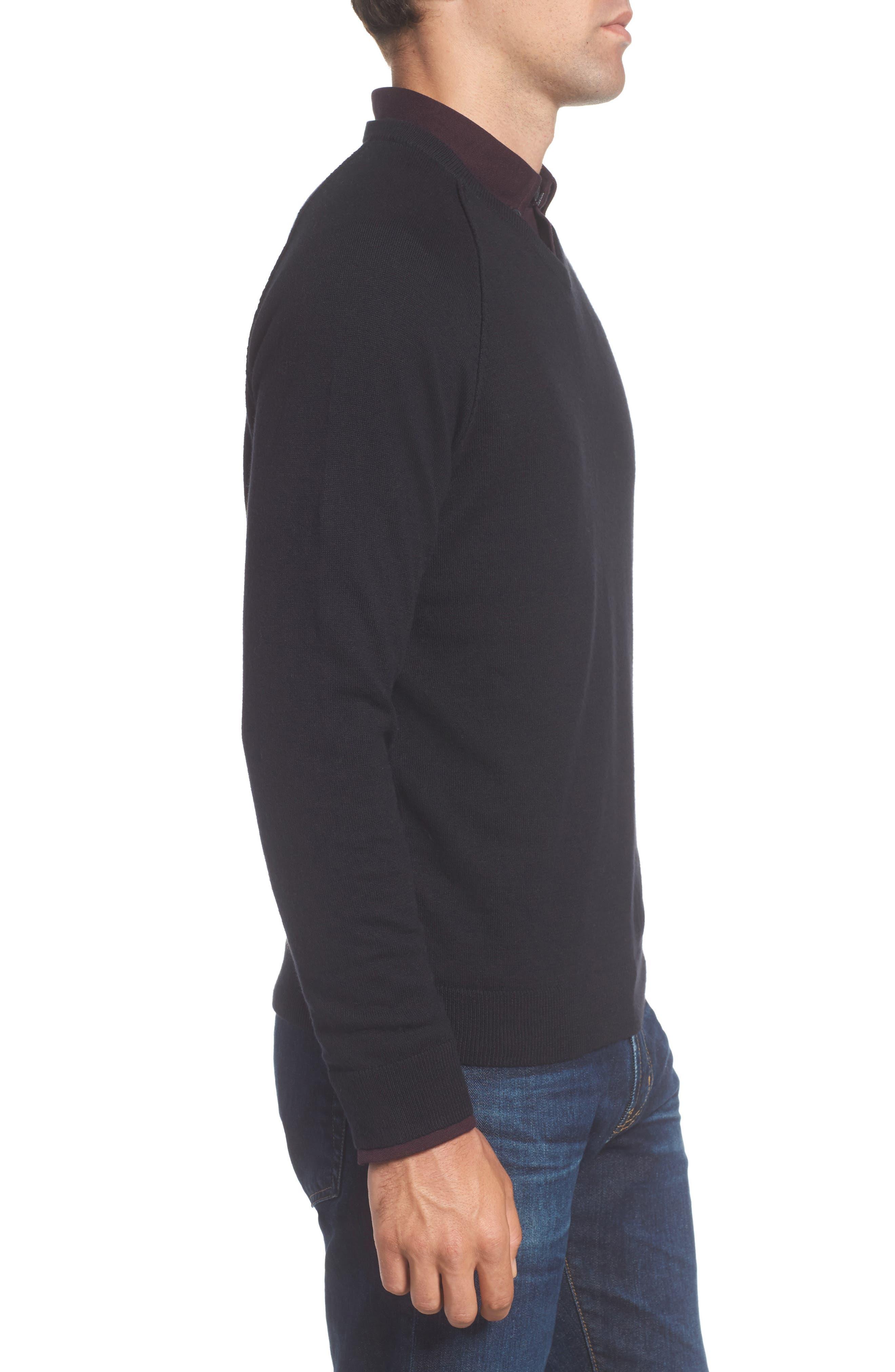 Saddle Shoulder Cotton & Cashmere V-Neck Sweater,                             Alternate thumbnail 17, color,