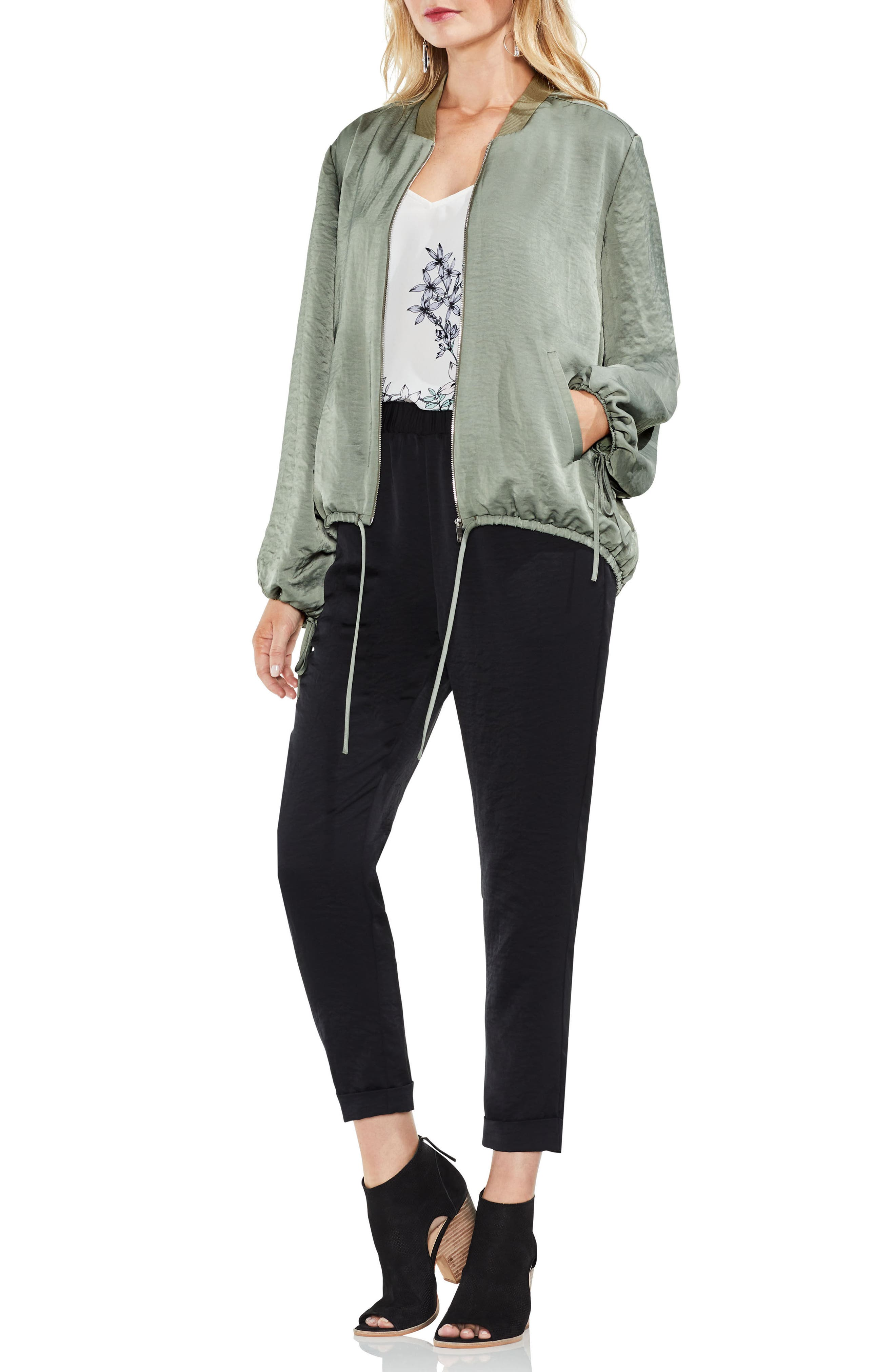 Hammered Satin Drawstring Bomber Jacket,                             Alternate thumbnail 5, color,