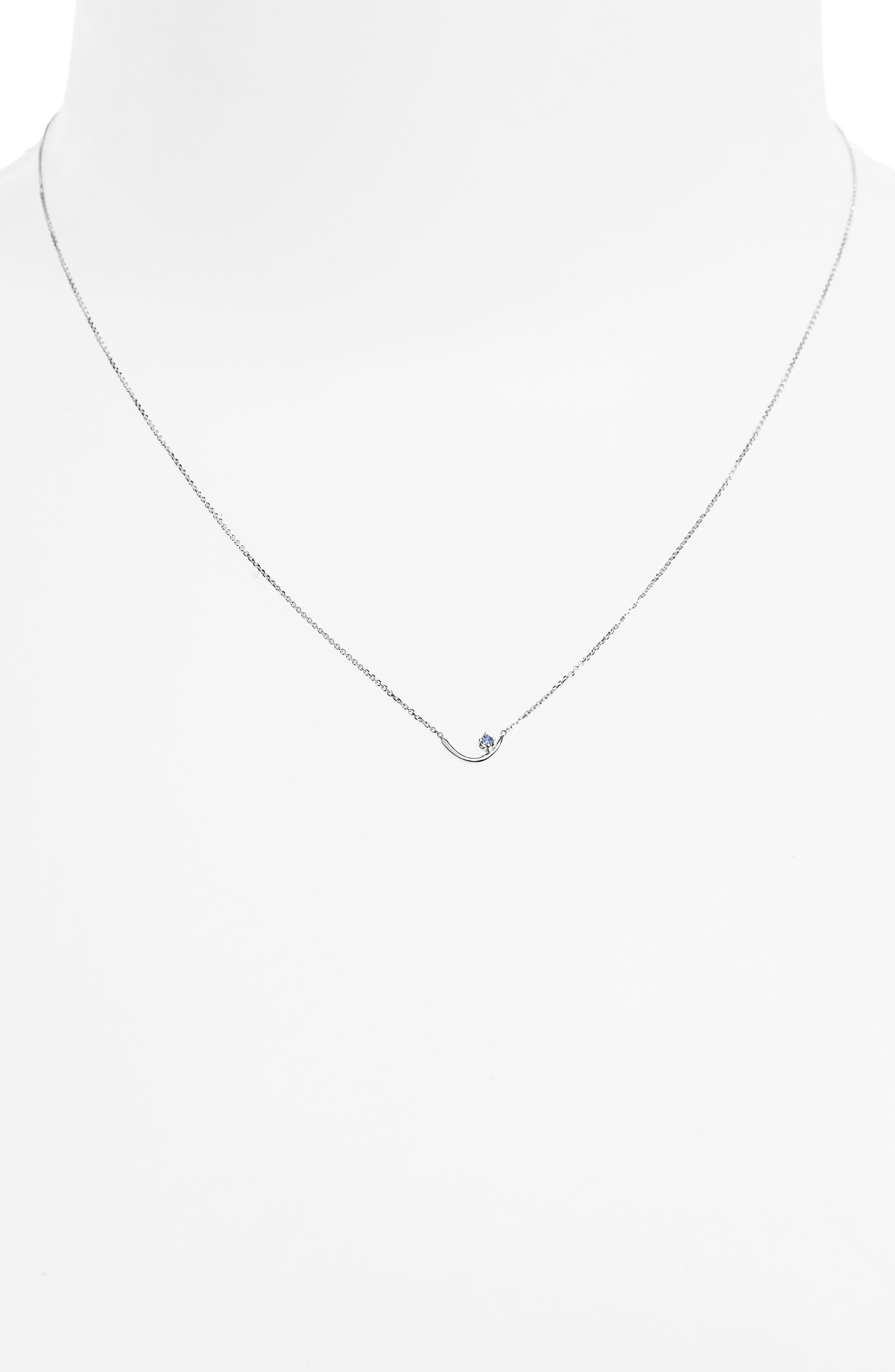 Arc Lineage Necklace,                             Alternate thumbnail 2, color,                             STERLING SILVER/LIGHT SAPPHIRE