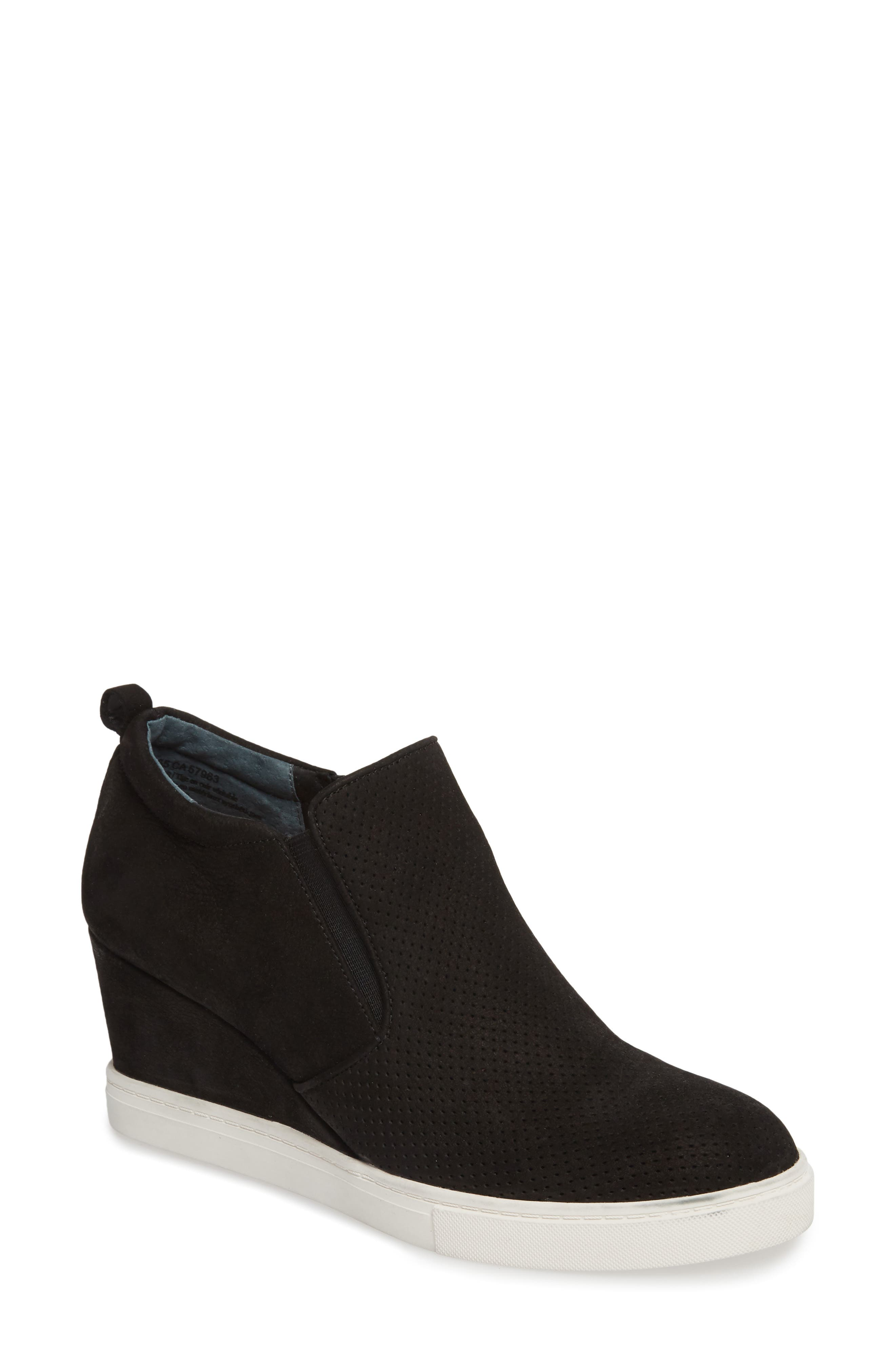 Aiden Wedge Sneaker,                         Main,                         color, BLACK PERFORATED LEATHER