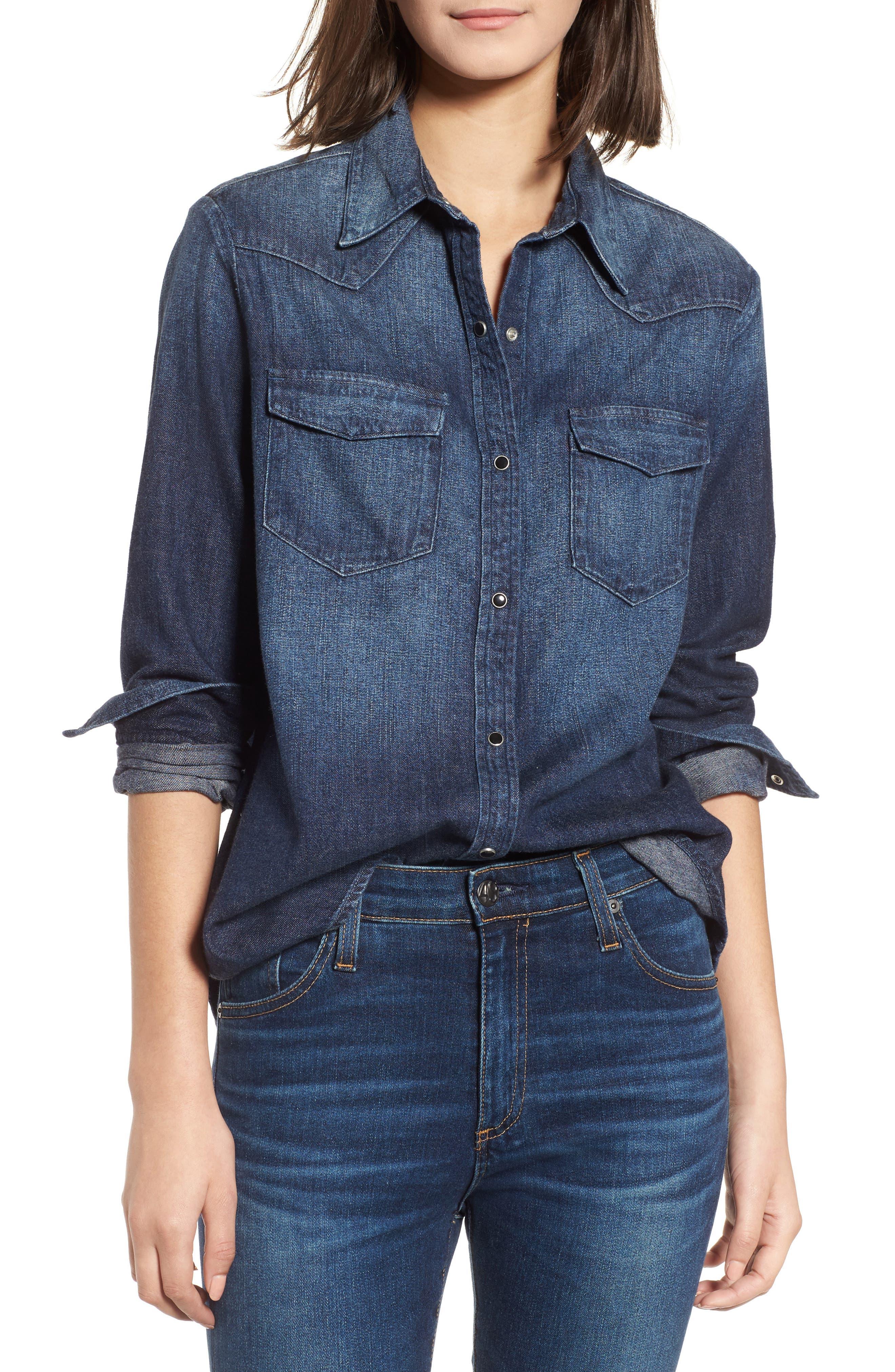 Deanna Denim Shirt,                         Main,                         color, 424
