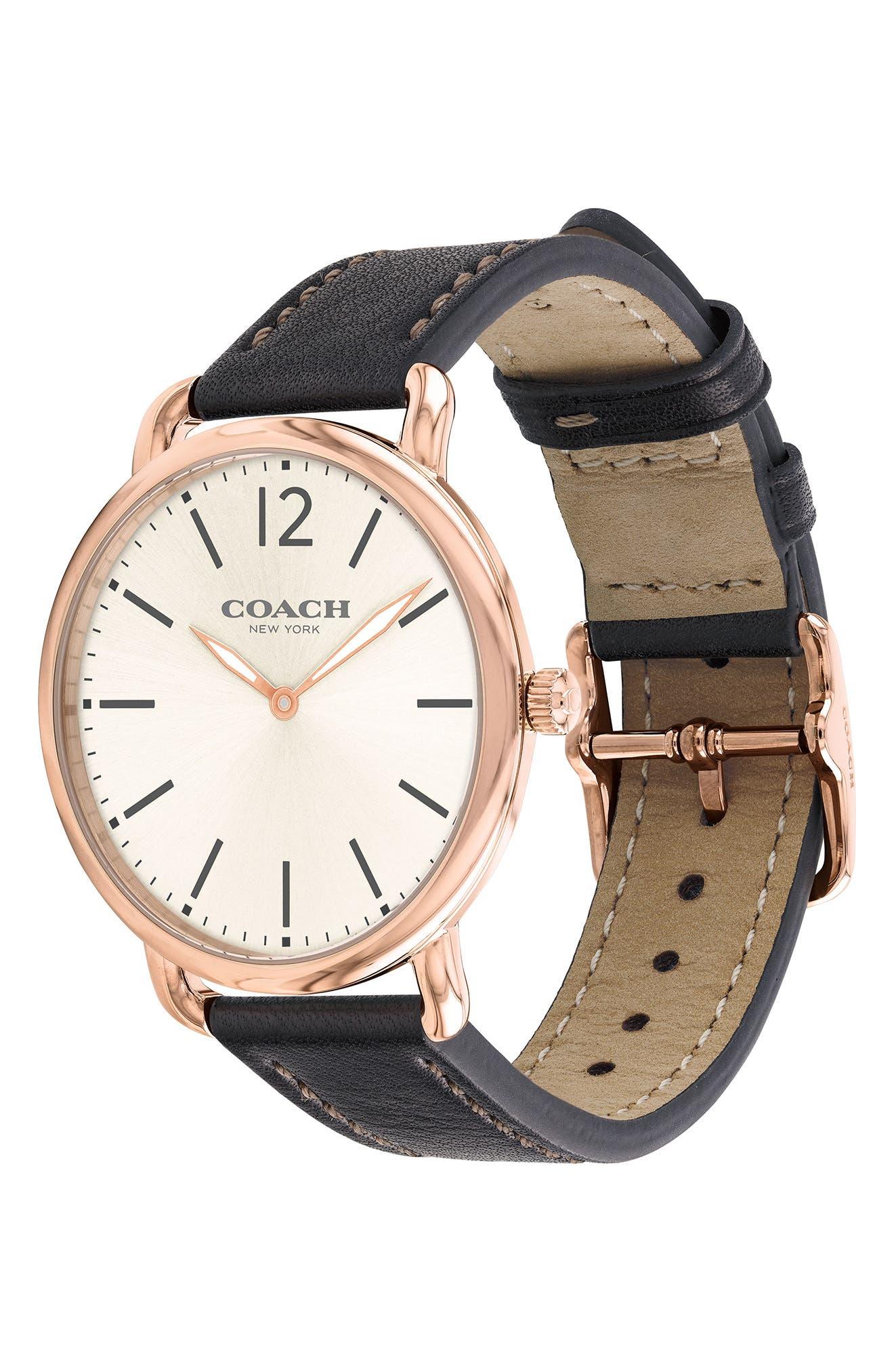 Delancey Leather Strap Watch, 40mm,                             Alternate thumbnail 3, color,                             BLACK/ CHALK/ ROSE GOLD