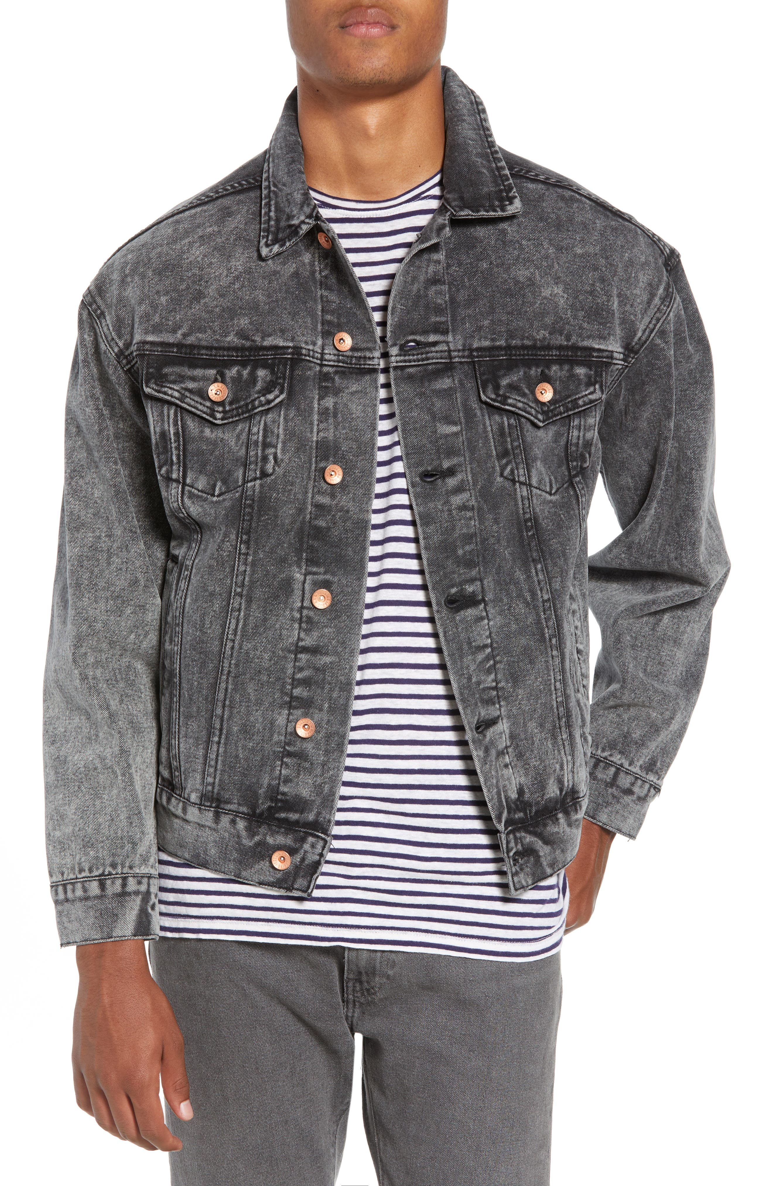 Classic Fit Denim Jacket,                             Main thumbnail 1, color,                             BLACK ACID WASH