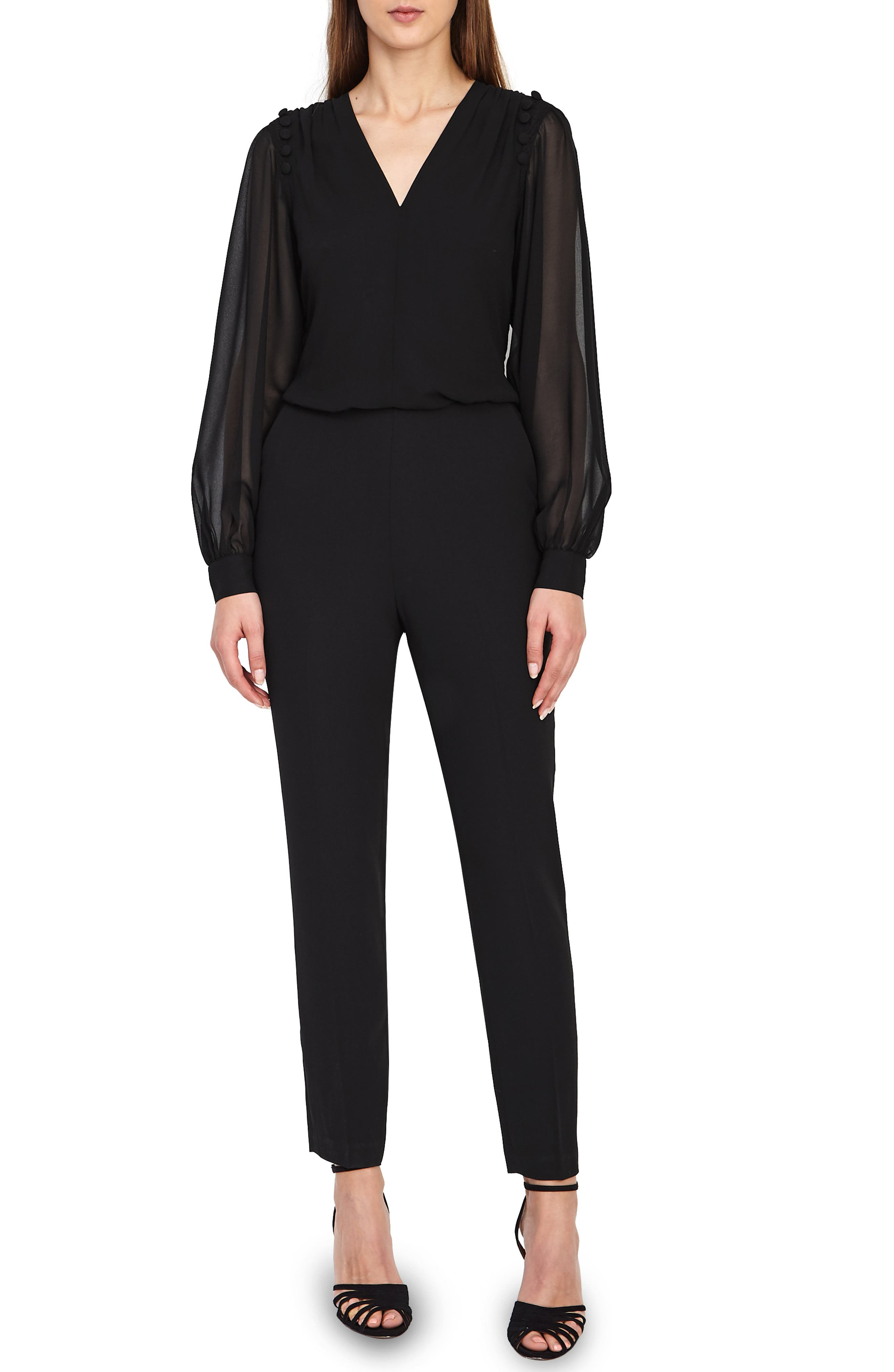 REISS Adeliza Button Detail Jumpsuit in Black