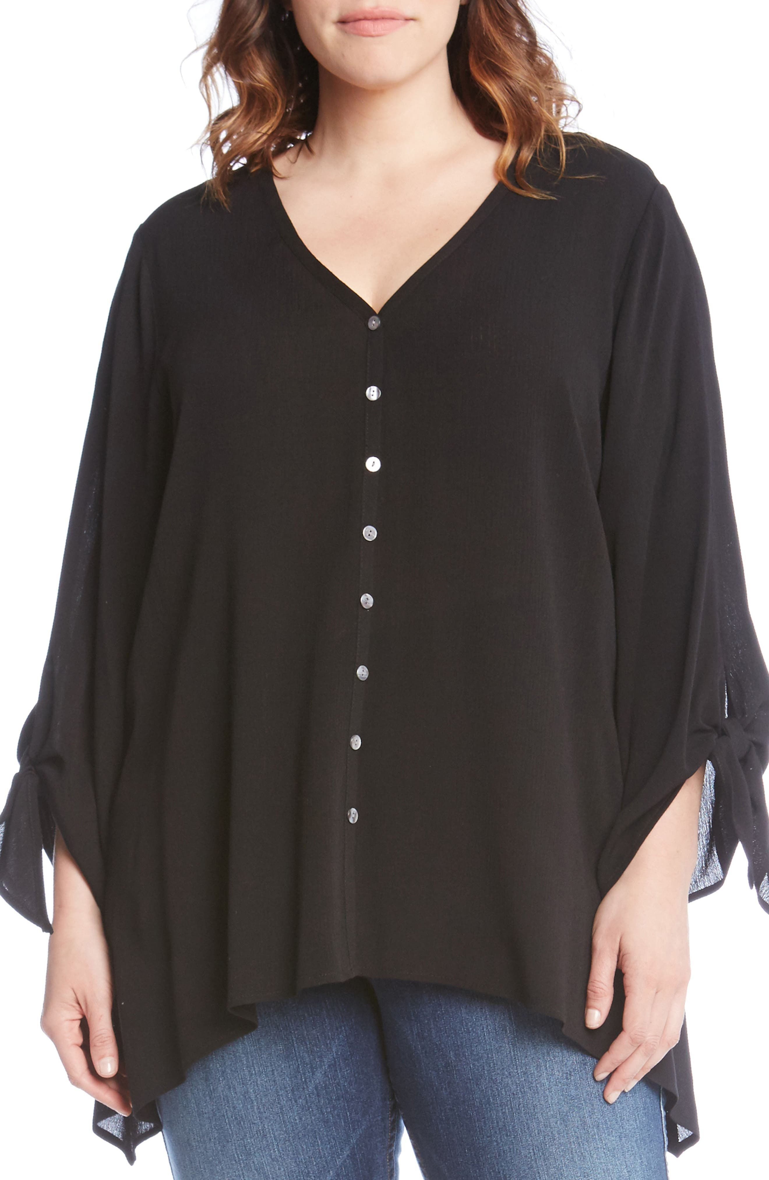 Tie Sleeve Top,                             Alternate thumbnail 3, color,                             001