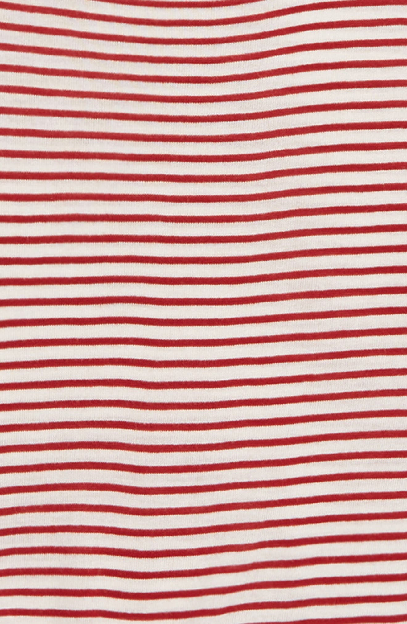 Ruched Sleeve Tee,                             Alternate thumbnail 2, color,                             RED ROSEWOOD- IVORY STRIPE