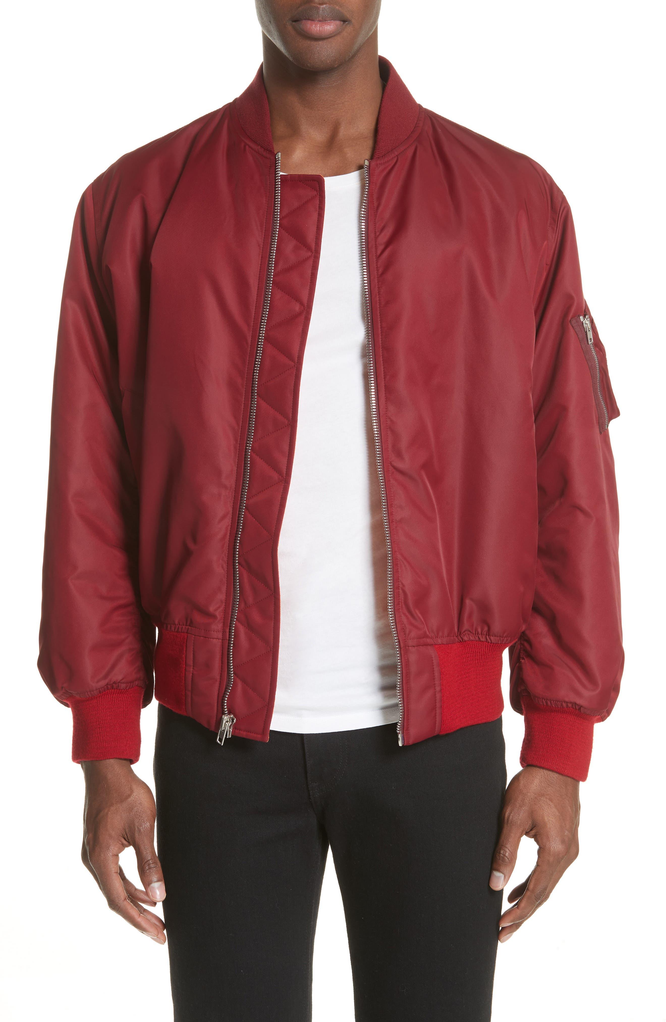 Nylon Bomber Jacket,                         Main,                         color, BURGUNDY
