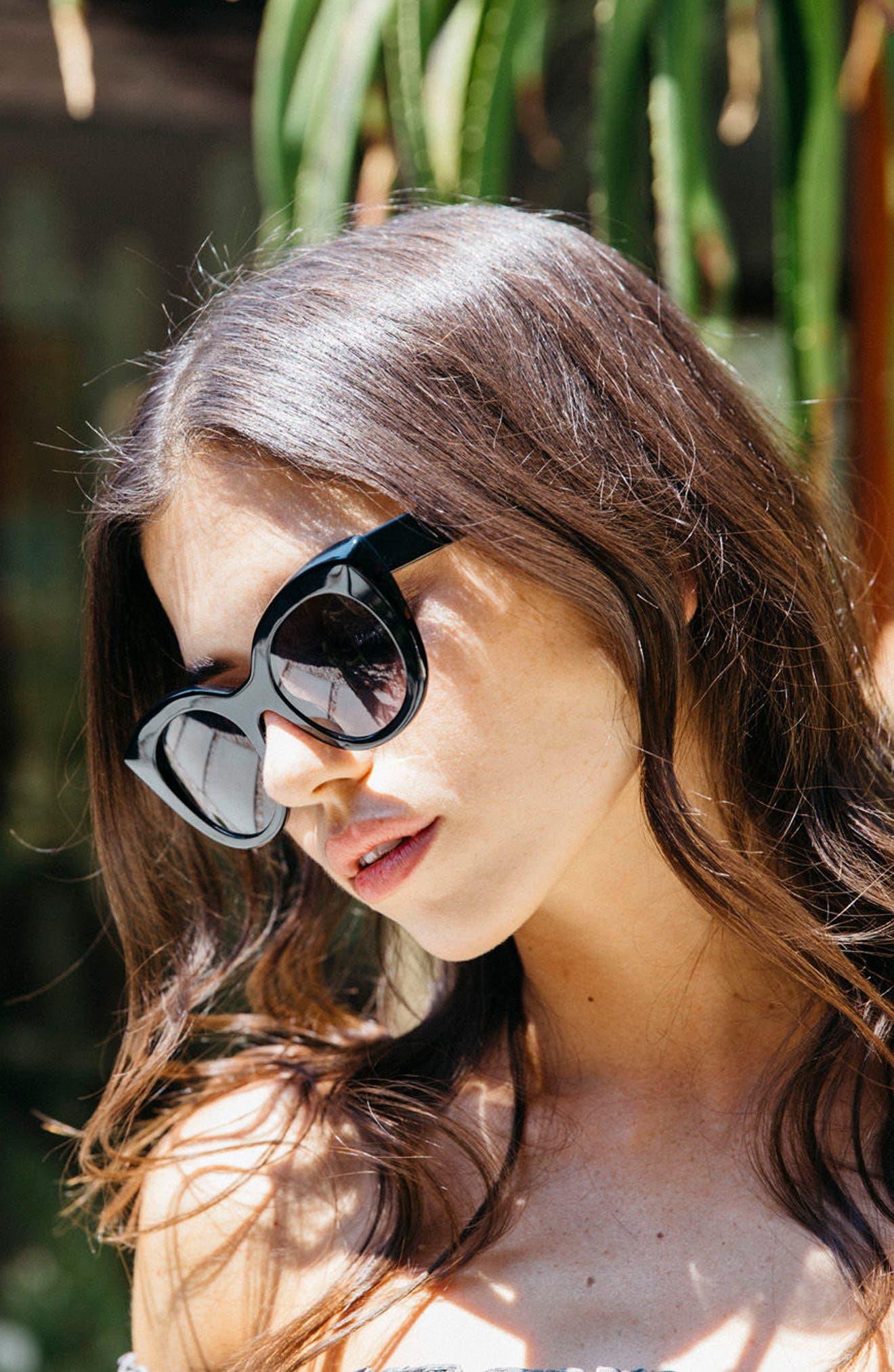 D'BLANC Modern Lover 49mm Cat-Eye Sunglasses,                             Alternate thumbnail 3, color,                             001