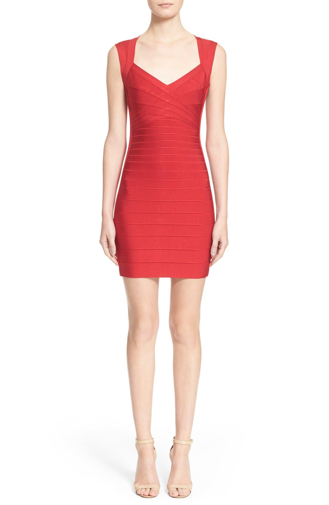 HERVE LEGER Open Back Bandage Dress, Main, color, 616