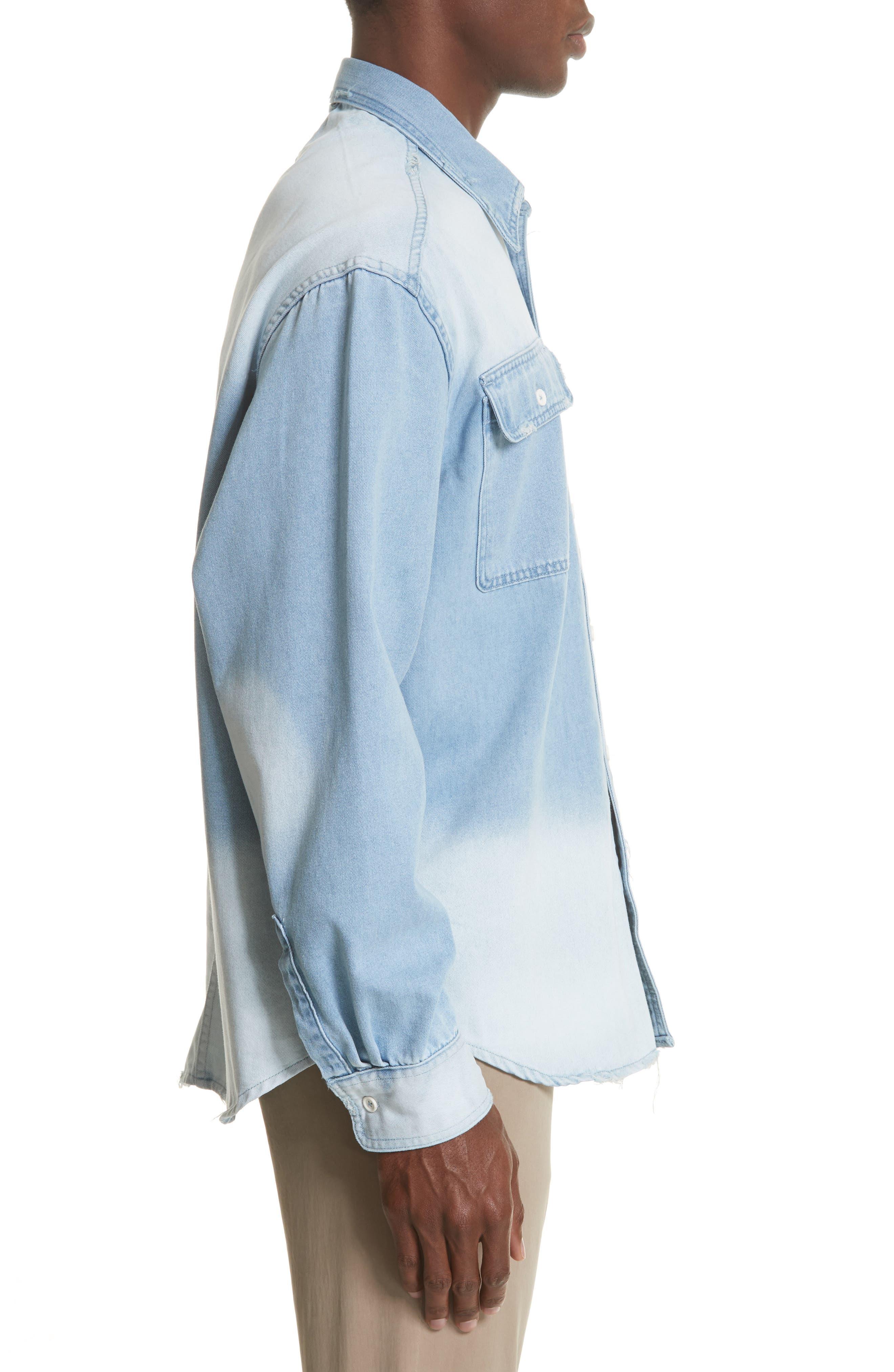 Oversize Distressed Denim Shirt,                             Alternate thumbnail 3, color,                             WASHED DENIM