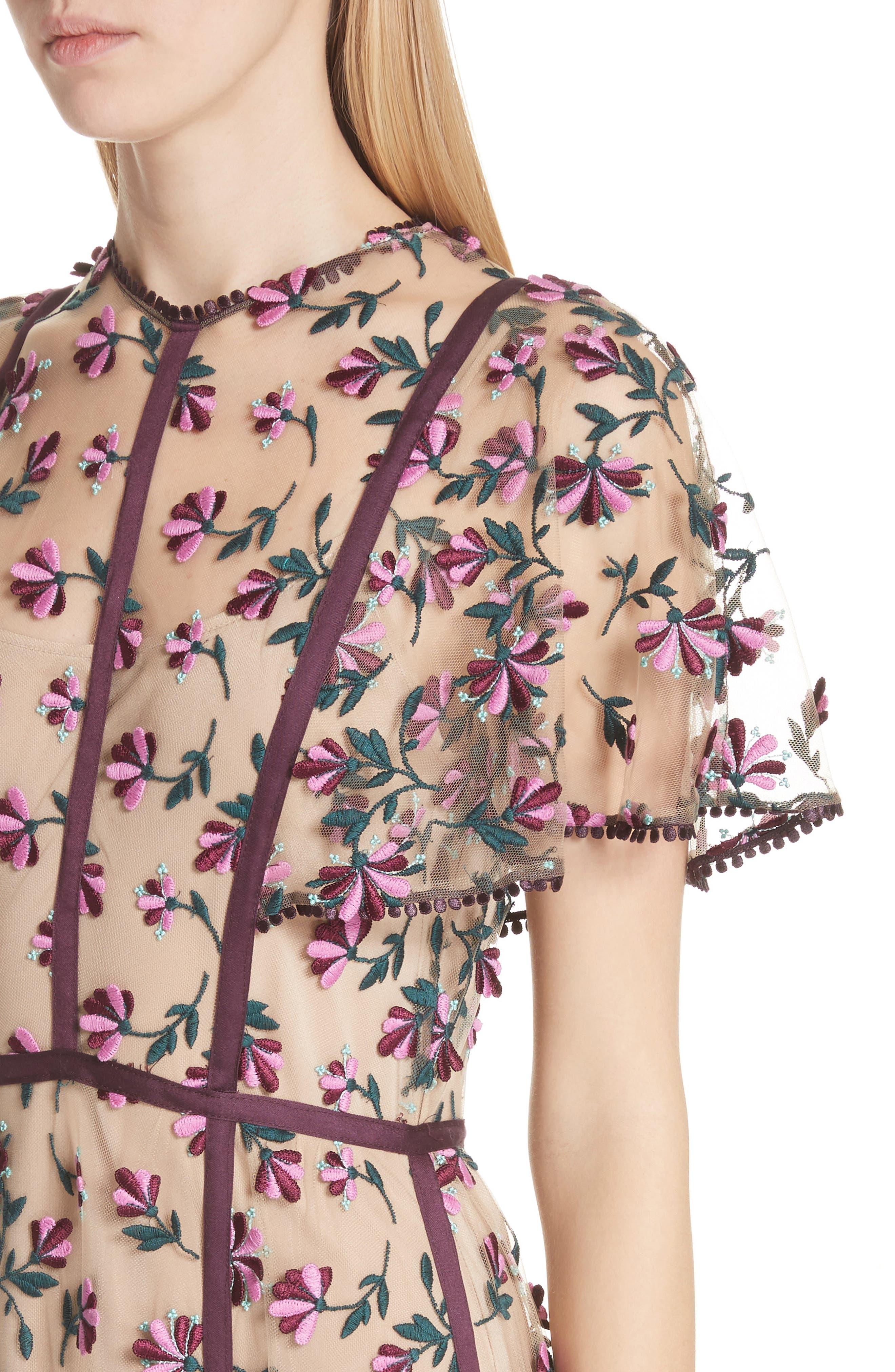 Embroidered Flutter Sleeve Midi Dress,                             Alternate thumbnail 4, color,                             537