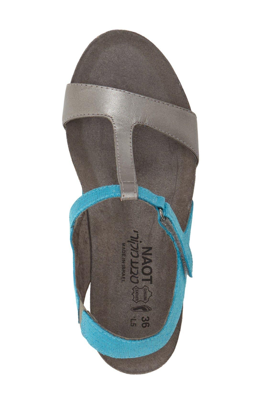 'Unicorn' T-Strap Sandal,                             Alternate thumbnail 3, color,                             AQUAMARINE LEATHER