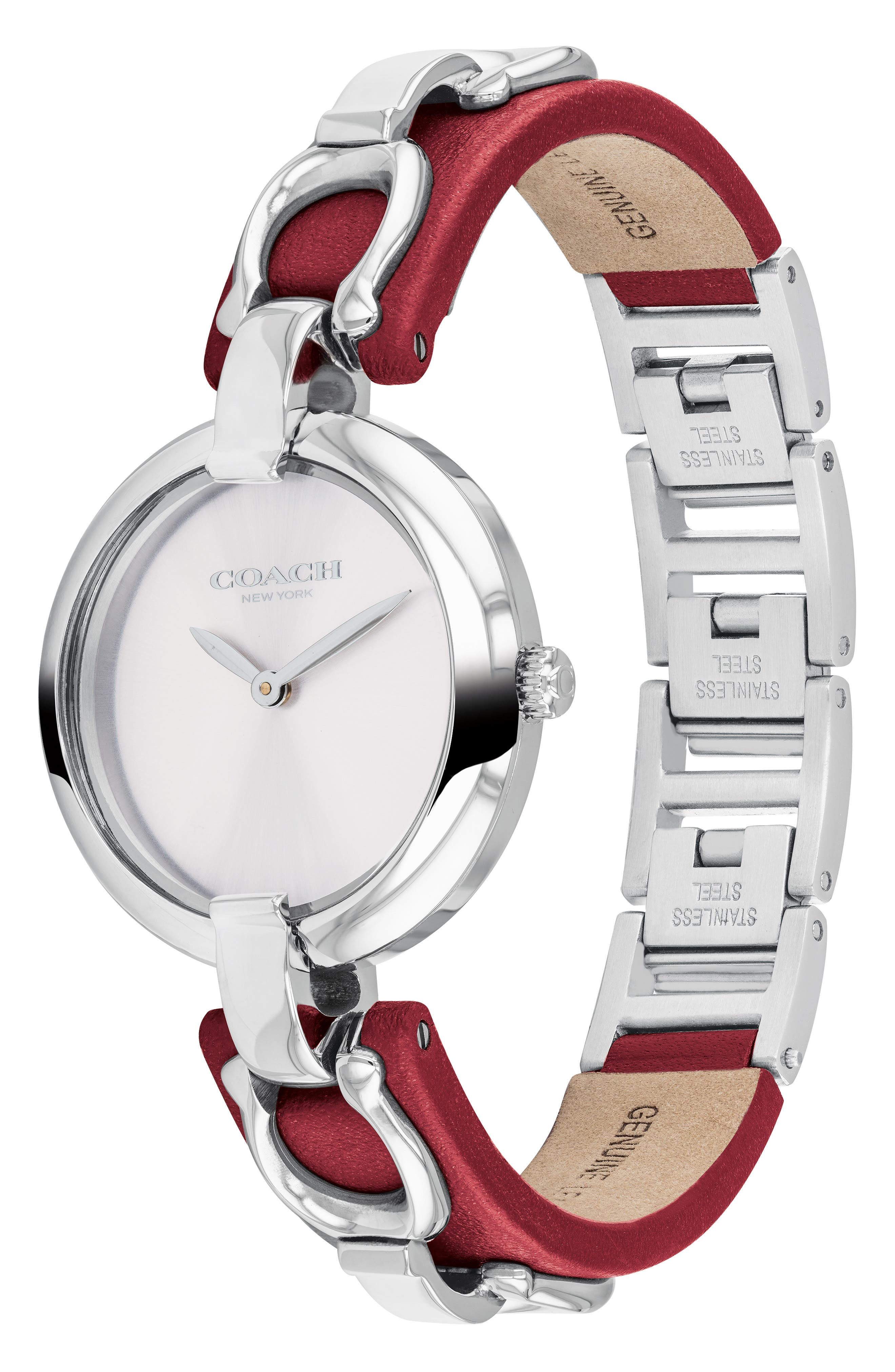 Chrystie Leather Strap Watch, 32mm,                             Alternate thumbnail 3, color,                             RED/ SILVER