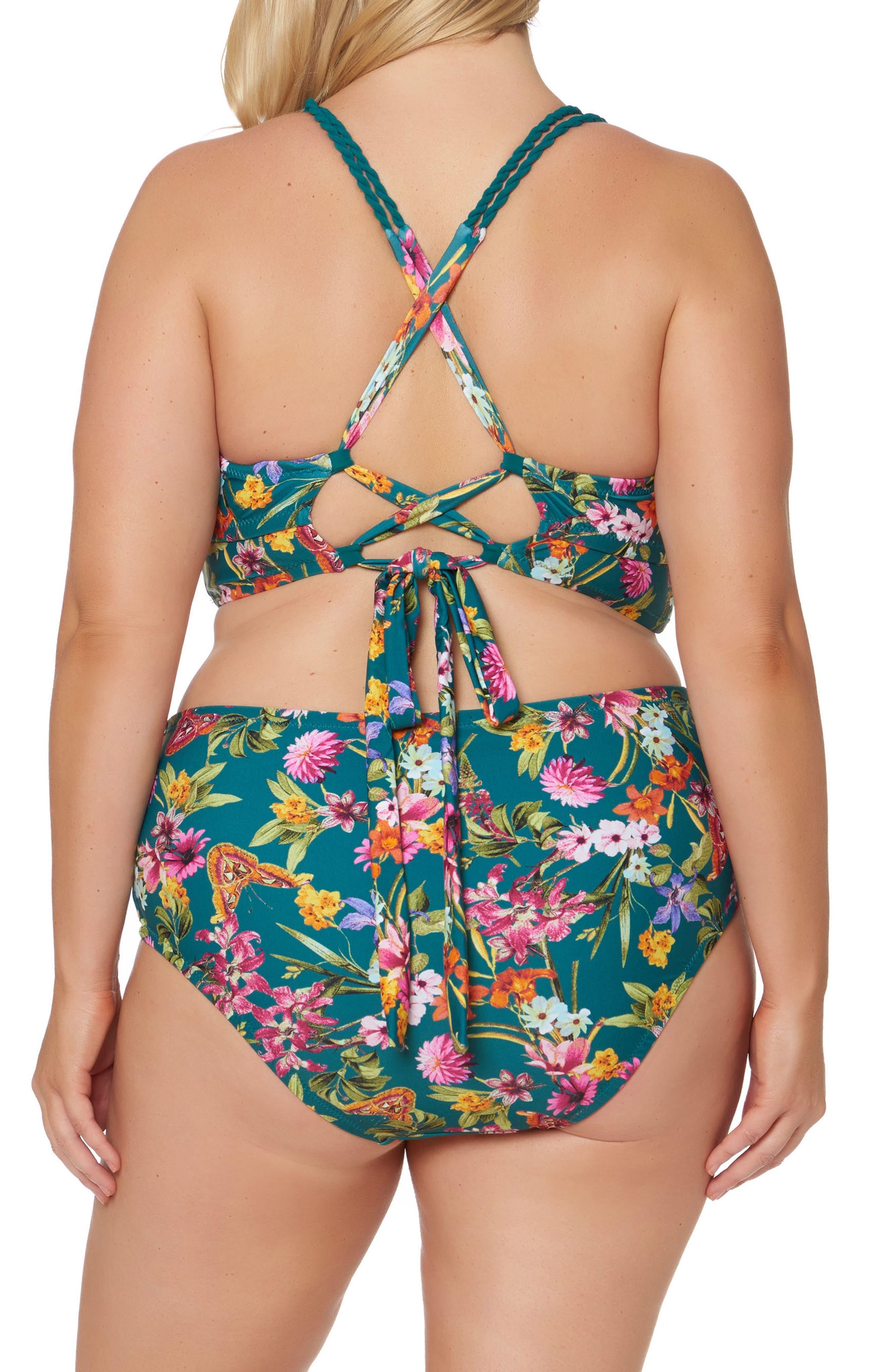 Floral Print Bikini Top,                             Alternate thumbnail 4, color,                             358