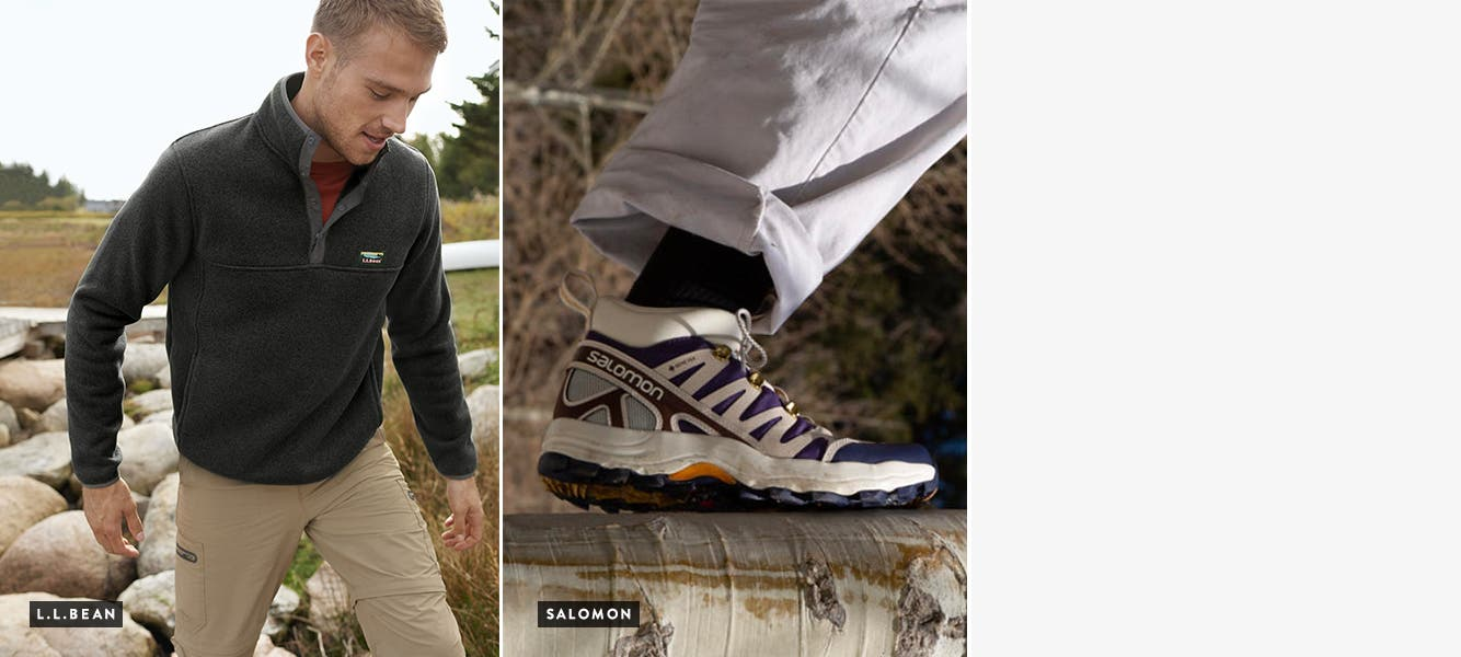 Separate shots of two women and a man hiking in L.L.Bean clothes. Close-ups of HOLO Footwear shoes and a Salomon shoe.