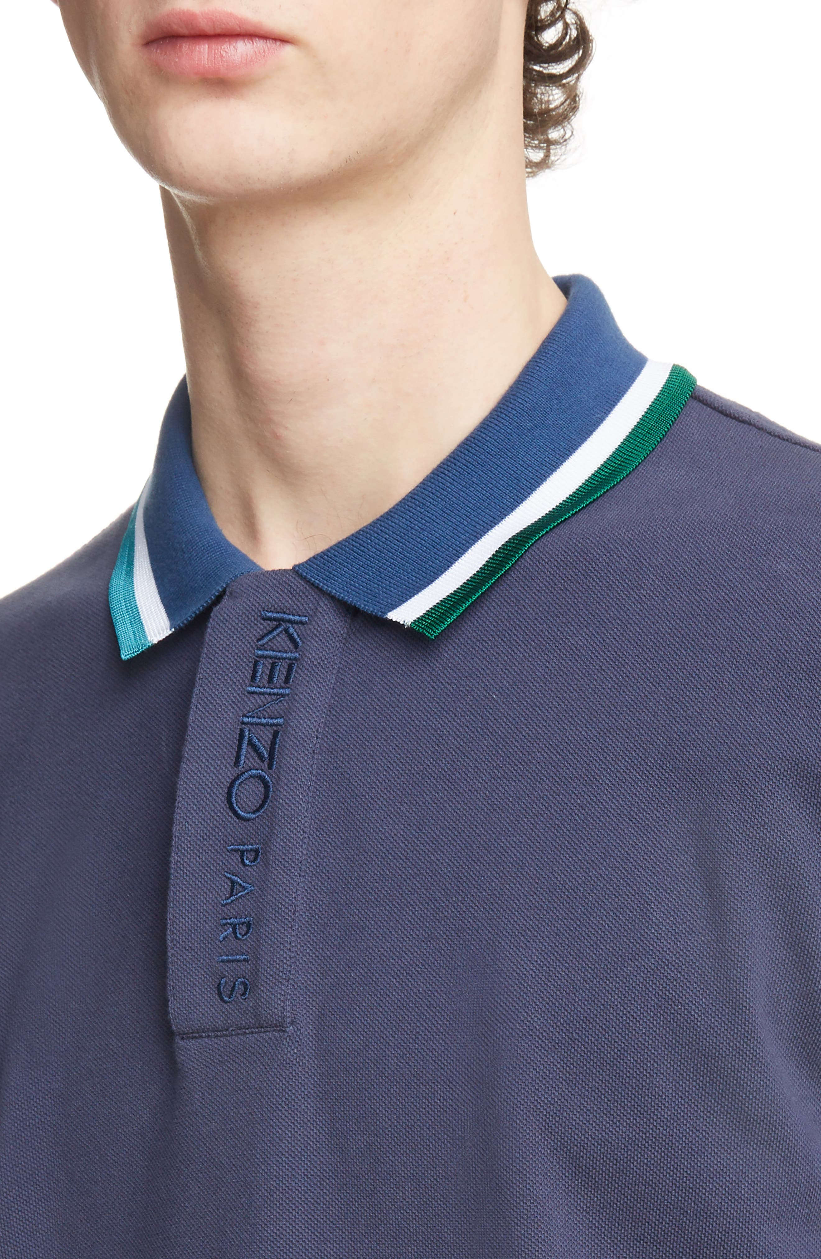 Placket Embroidered Tipped Piqué Polo,                             Alternate thumbnail 4, color,                             INK