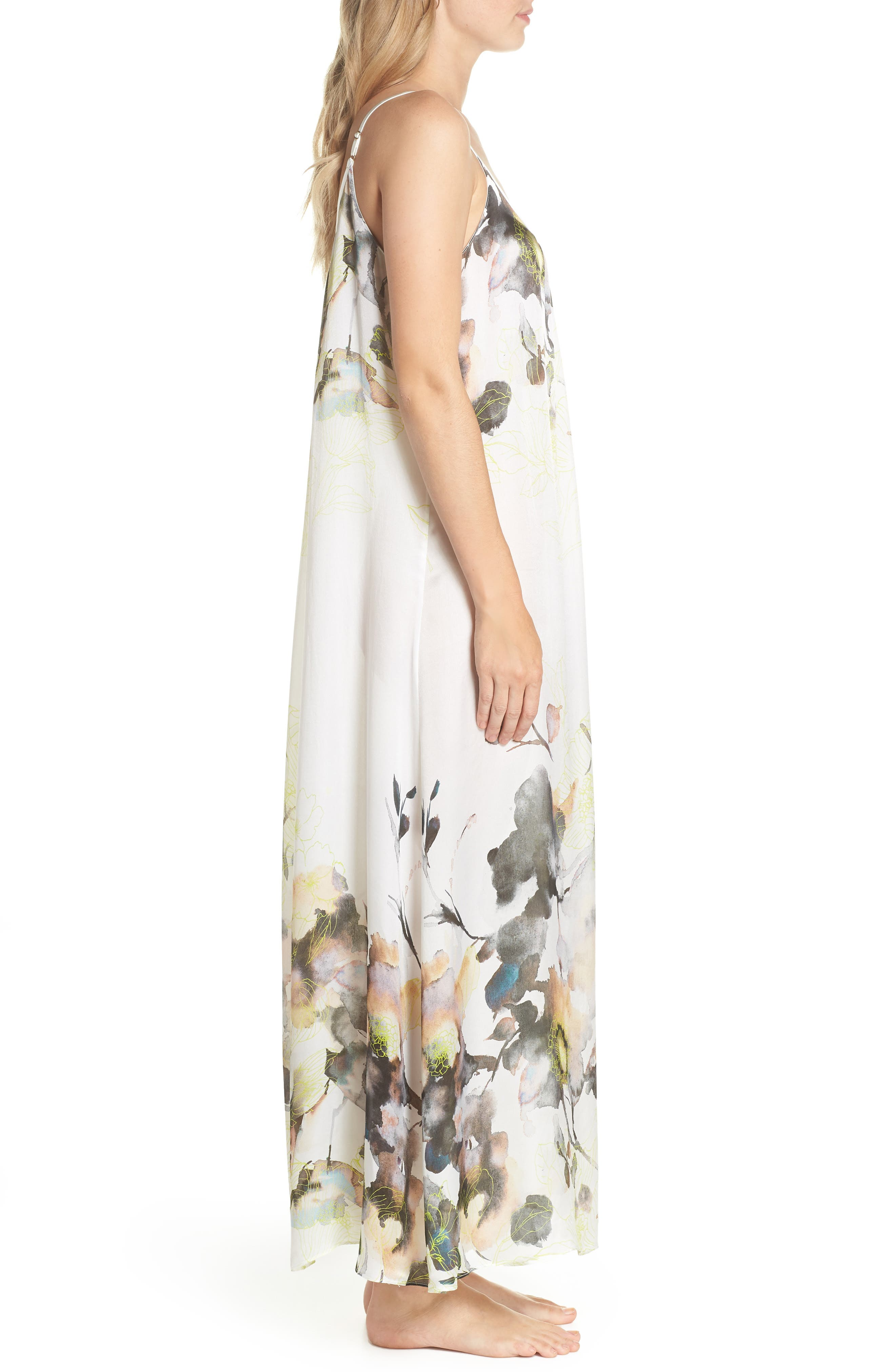 Floral Print Silk Nightgown,                             Alternate thumbnail 3, color,                             900