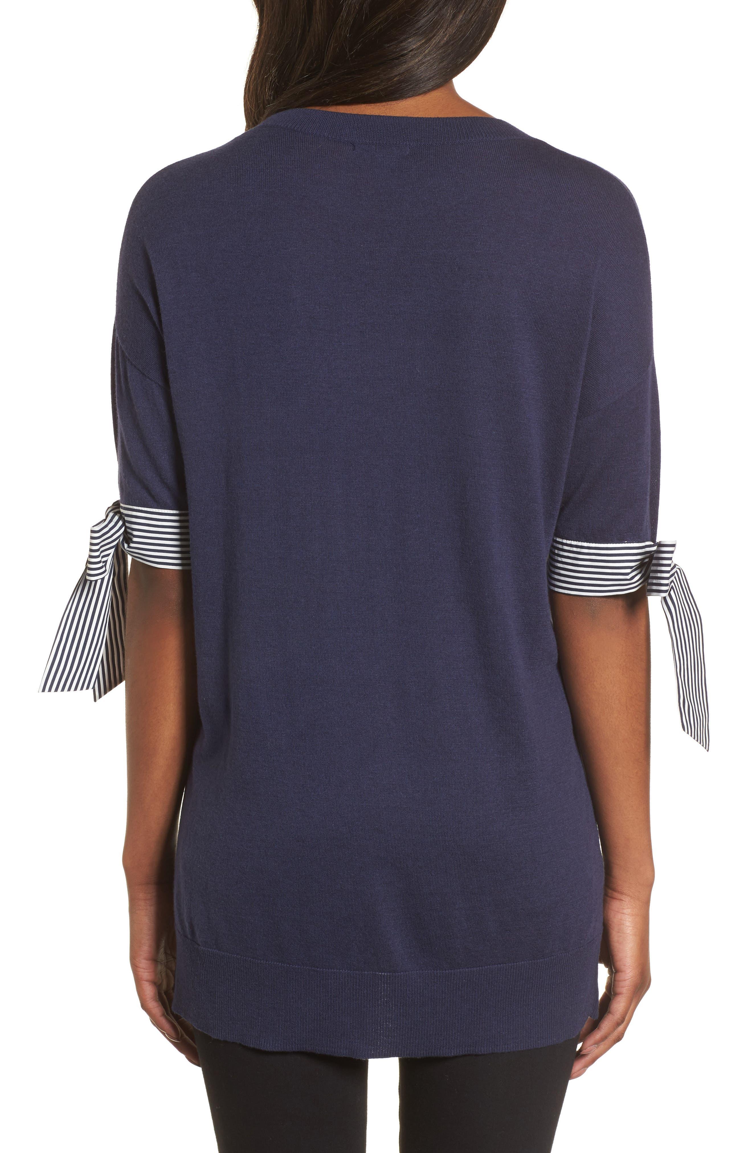 Poplin Bow Detail Sweater,                             Alternate thumbnail 4, color,